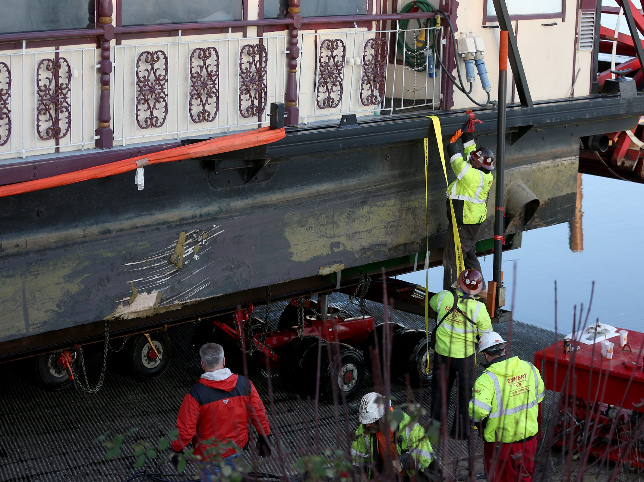 The Willamette Queen was brought ashore  for fiberglass repairs in Salem on Wednesday, Feb. 6, 2019. Damage is shown on the boat.