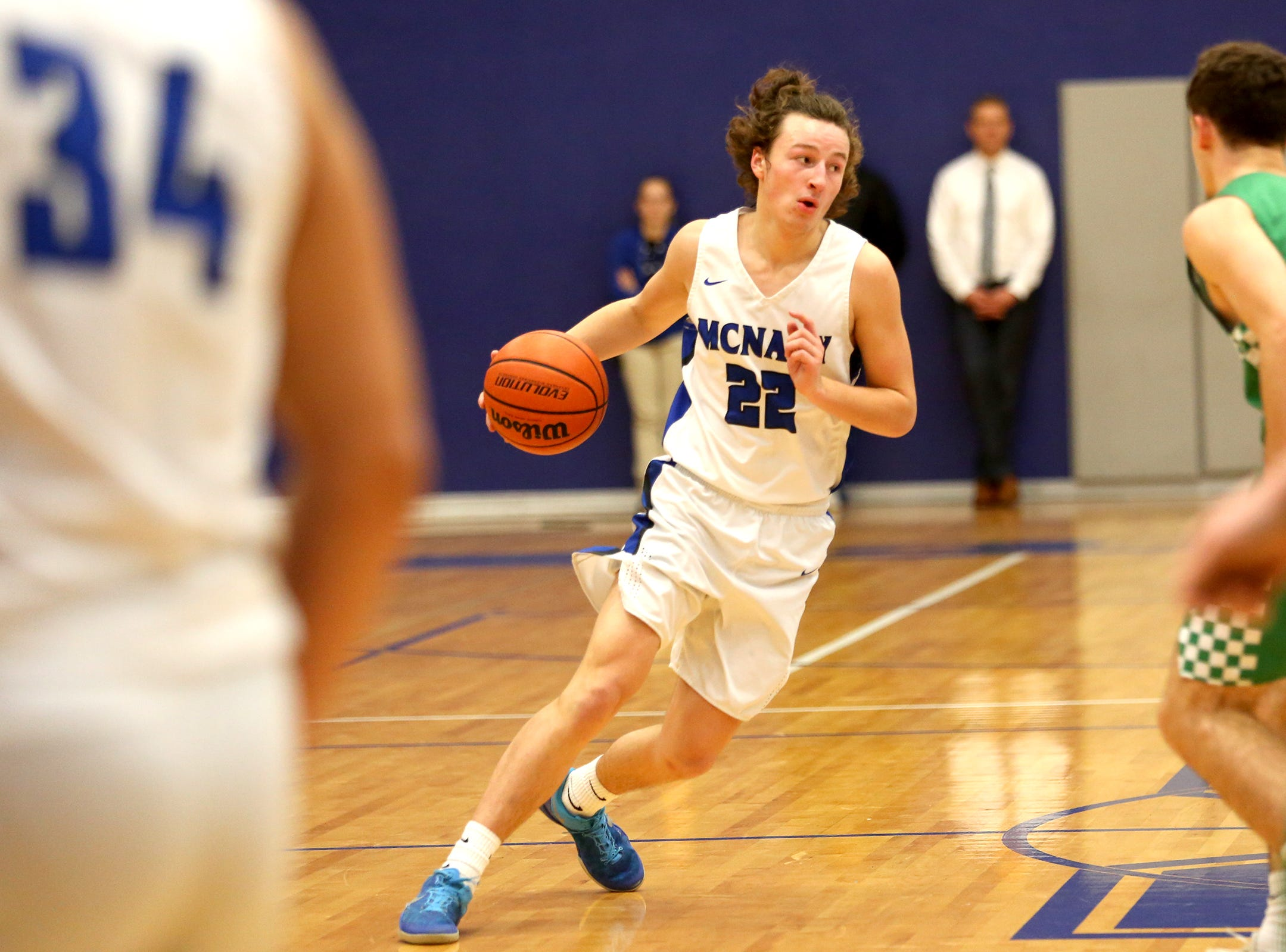 McNary's Griffin Oliveira (22) during the McNary boys basketball vs. West Salem game at McNary High School in Keizer on Wednesday, Feb. 6, 2019.