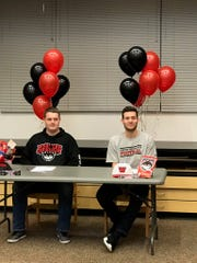 Silverton's William Perry and Levi Nielsen sign letters of intent Wednesday to play football at Western Oregon.