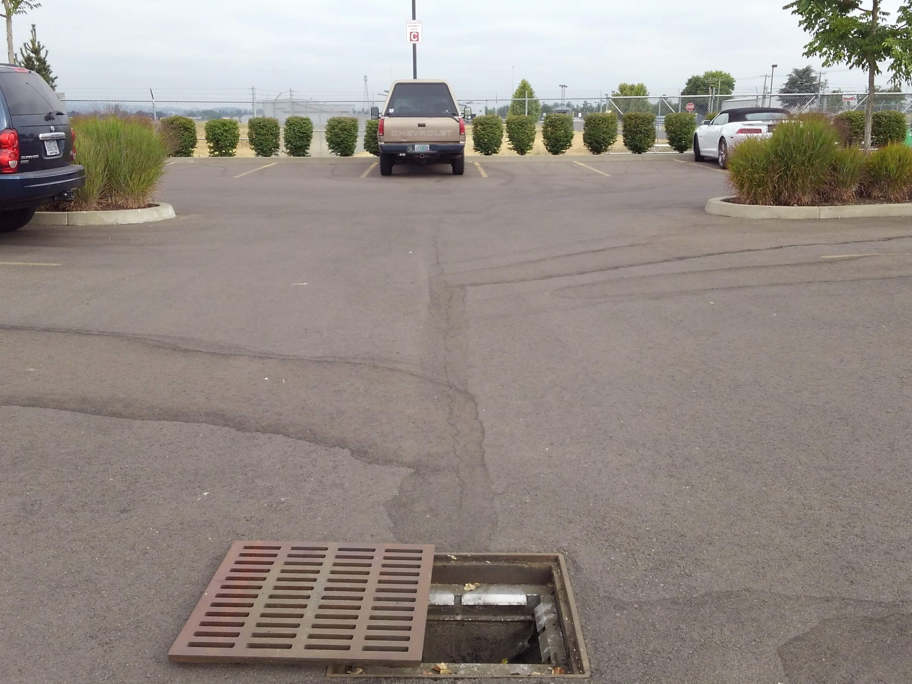 The drain with flogaurd and catch basin inserts at the Garmin parking lot on Turner Rd SE is an example of the type of on-site stormwater retention projects that would be required of developers in smaller cities under the new permit.