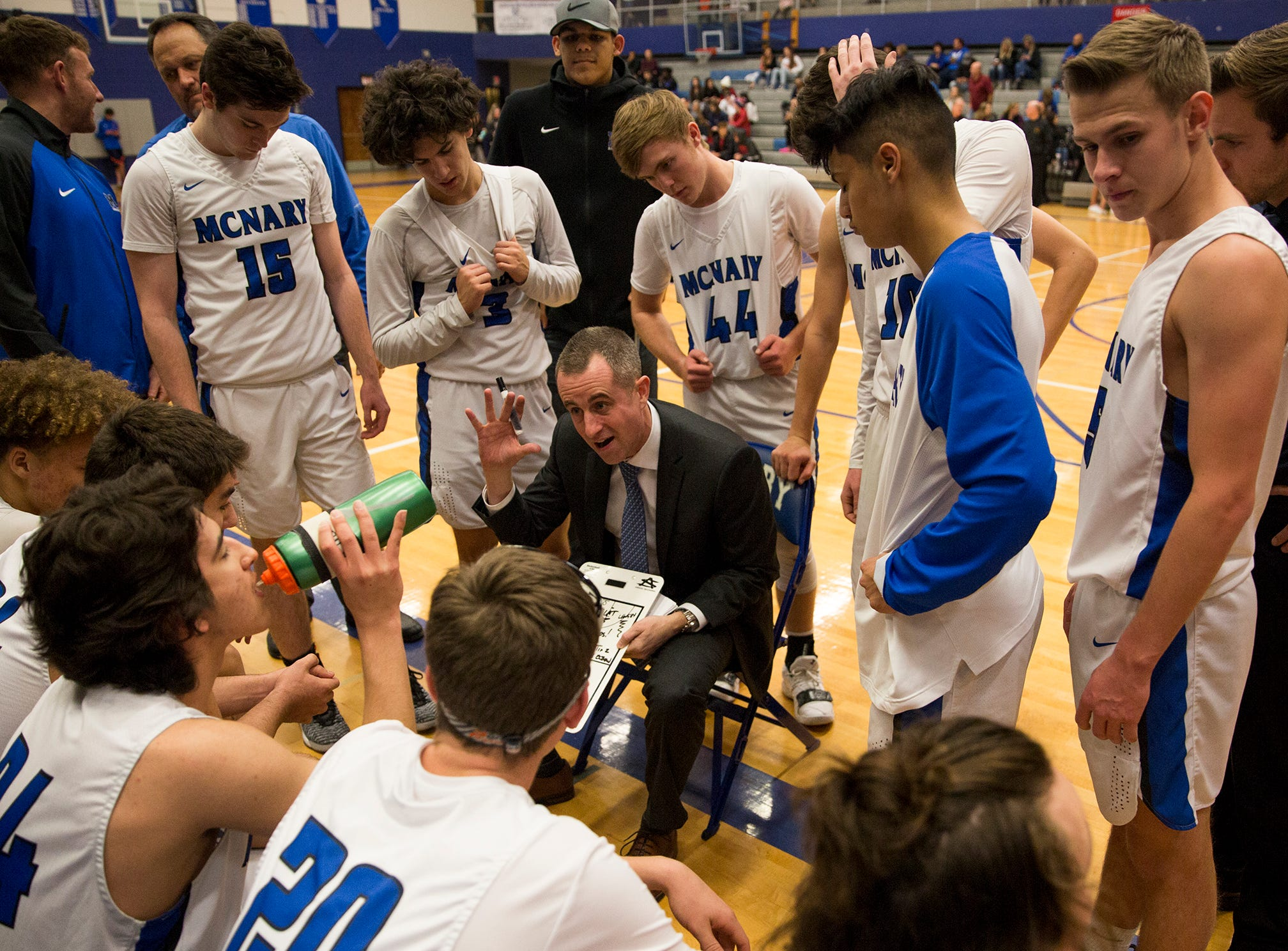 McNary's head coach Ryan Kirch talks to his team during the McNary boys basketball vs. West Salem game at McNary High School in Keizer on Wednesday, Feb. 6, 2019.