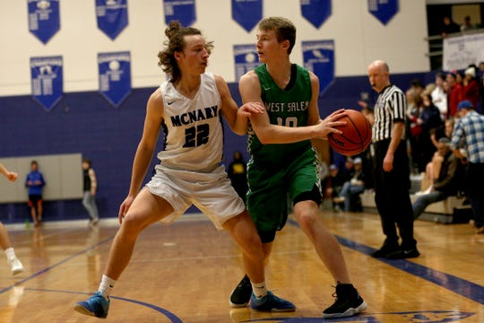 West Salem's Justin Scoggin (10) protects the ball from McNary's Griffin Oliveira (22) during the McNary boys basketball vs. West Salem game at McNary High School in Keizer on Wednesday, Feb. 6, 2019.