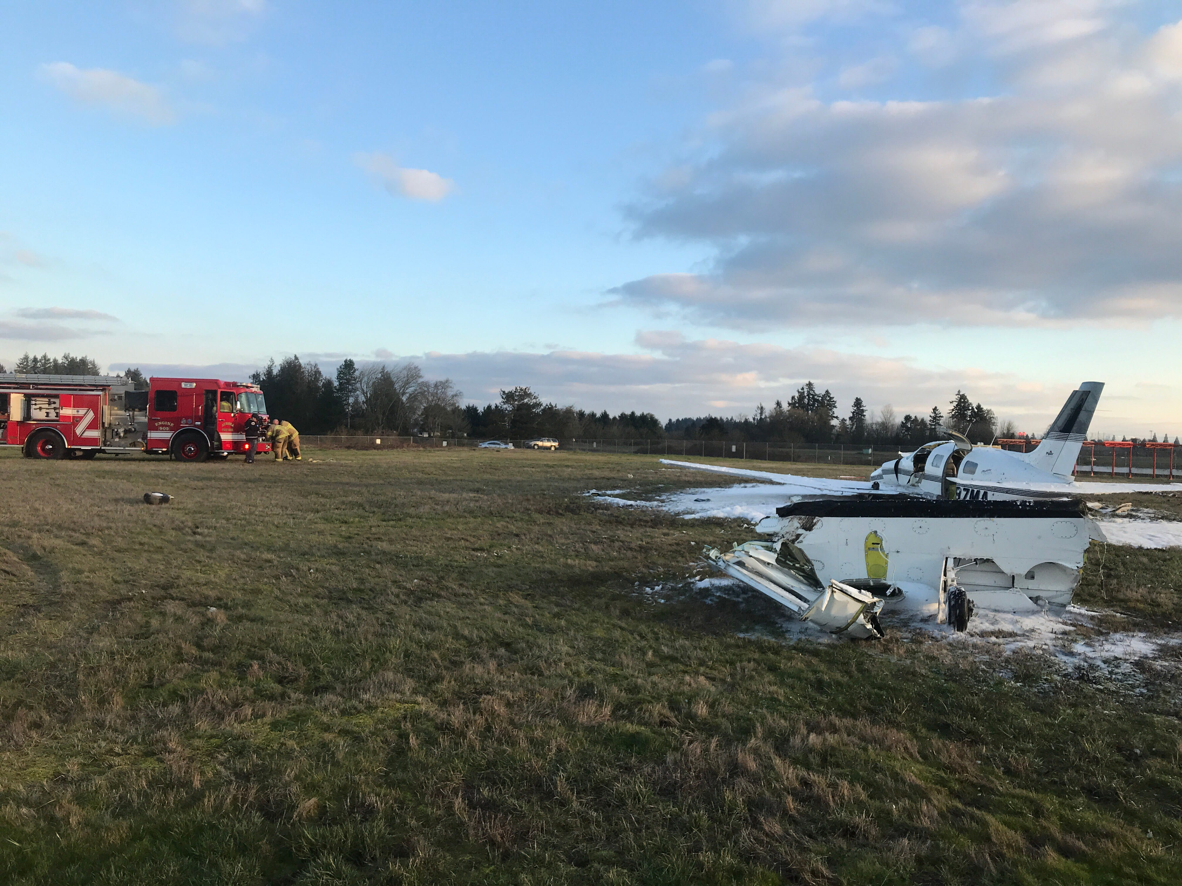 A pilot and a passenger escaped a plane crash with minor injuries Wednesday while landing at the Aurora Airport.