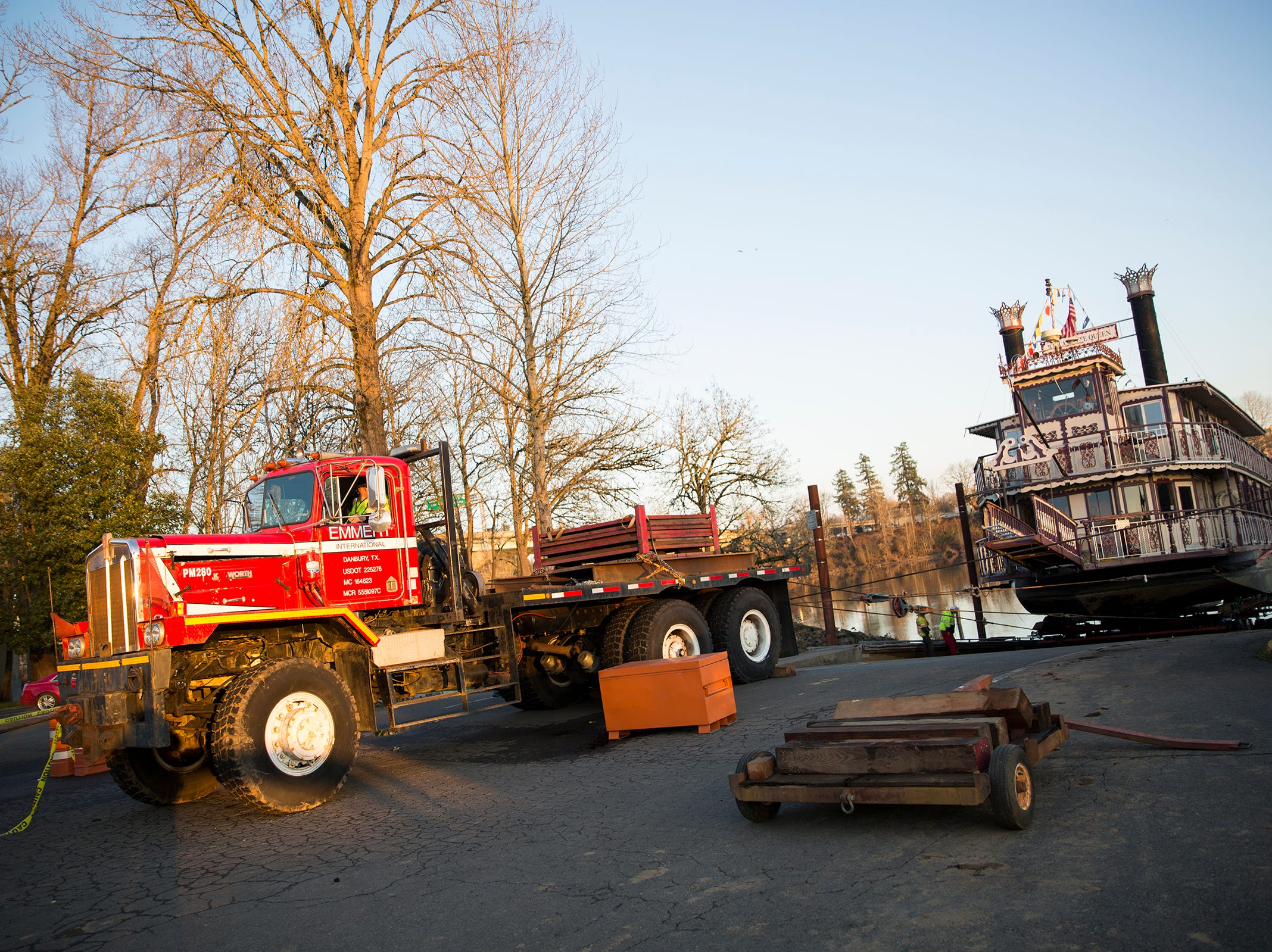 The Willamette Queen was brought ashore  for fiberglass repairs in Salem on Wednesday, Feb. 6, 2019. A crew from Emmert International, based in Clackamas, worked for a week to lift the boat out of the Willamette River.
