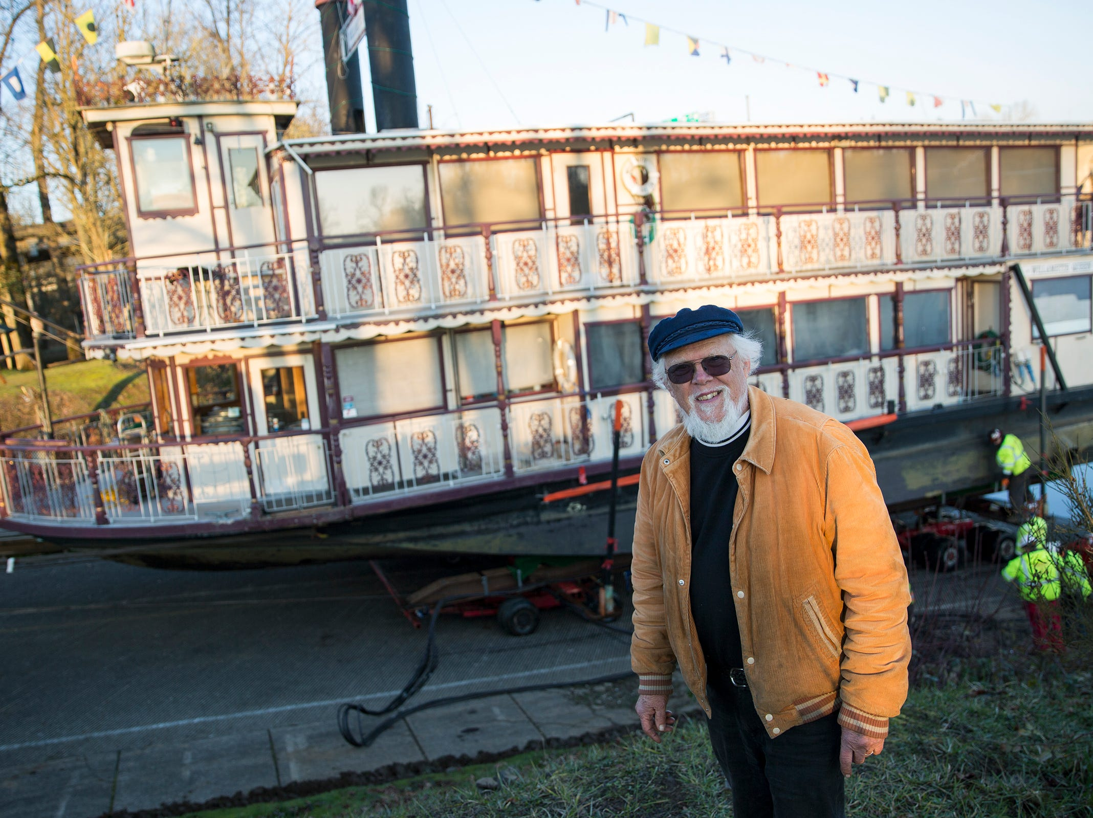 The Willamette Queen captain Richard Chesbrough in front of his boat in Salem on on Wednesday, Feb. 6, 2019. Chesbrough has been captain for 21 years now.