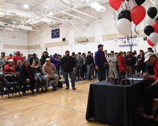 Coaches, friends and family of Salinas senior Sebastian Gomez all came out to Joe Chappell Gym to see the defensive lineman sign a National Letter of Intent to play football with Eastern Washington University.
