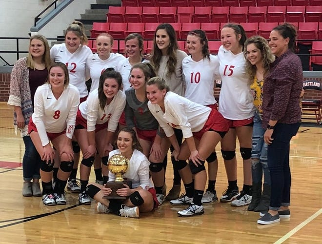 Miles ISD girls athletic coordinator and girls basketball head coach Meg Barrett, shown here on the far right in her duties as assistant volleyball coach, was relieved of coaching duties after the team's seventh district game, Jan. 29 2019.
