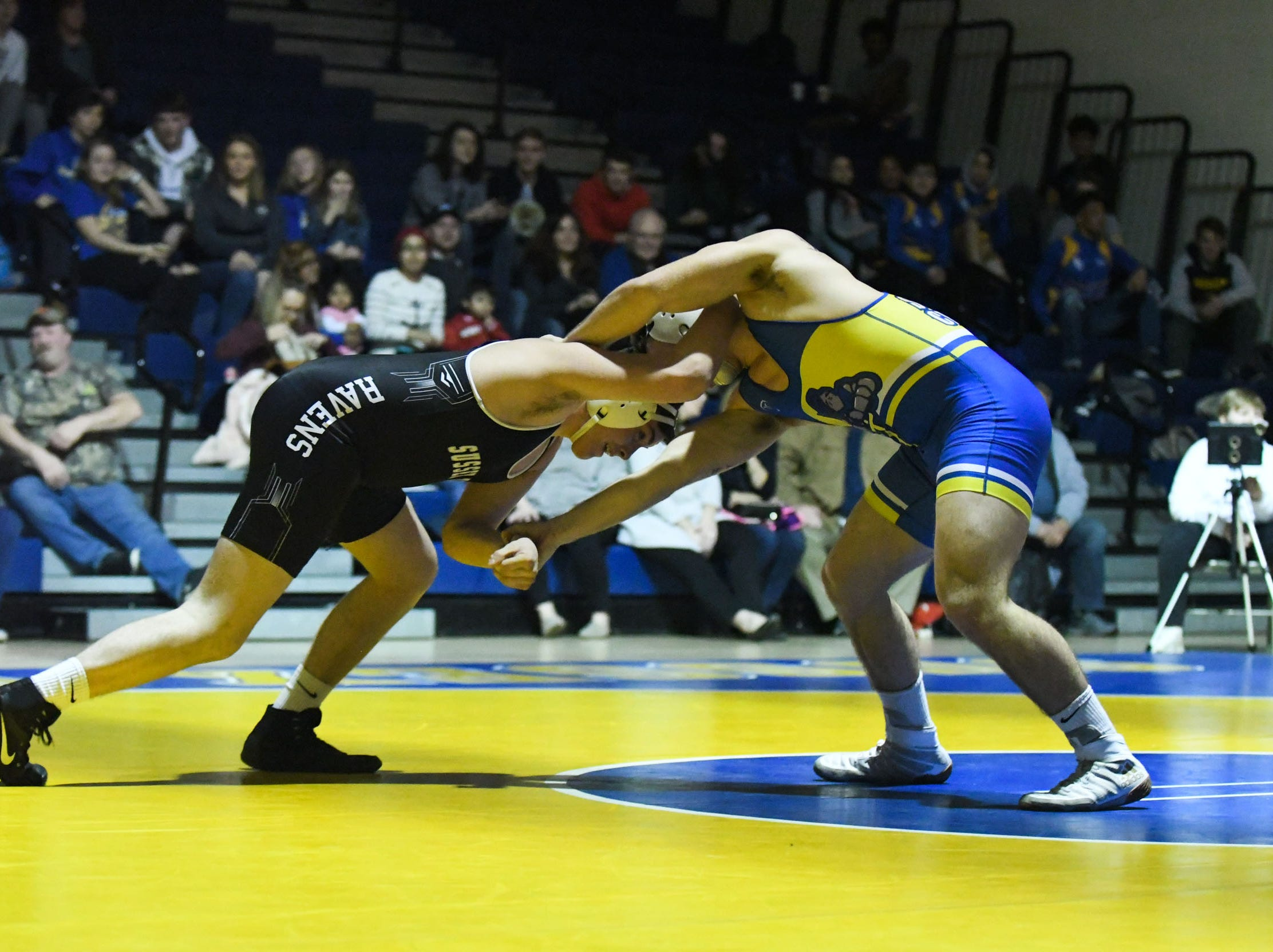 Sussex Central's Michael Wright battled Sussex Tech's Seth Layfield during the match up at 195lbs on Wednesday, Feb. 6, 2019.