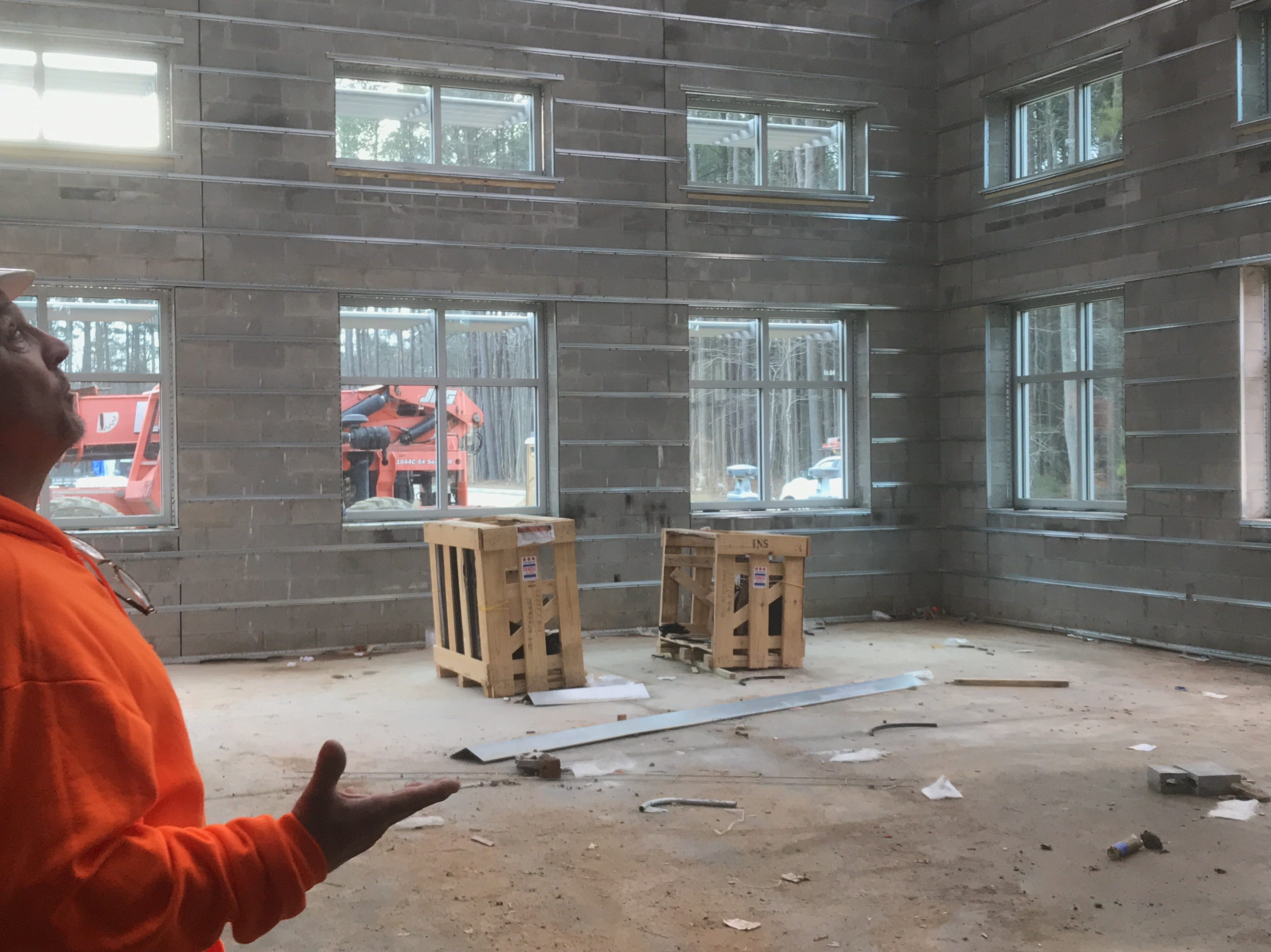 Construction of the new administrative and academic building at Eastern Shore Community in Melfa, Virginia  is making good progress. A tour led by VCCS inspector Joe Habel on Wednesday, Feb. 6, 2019 showed off some of the building's features, such asa the student lounge, pictured here.