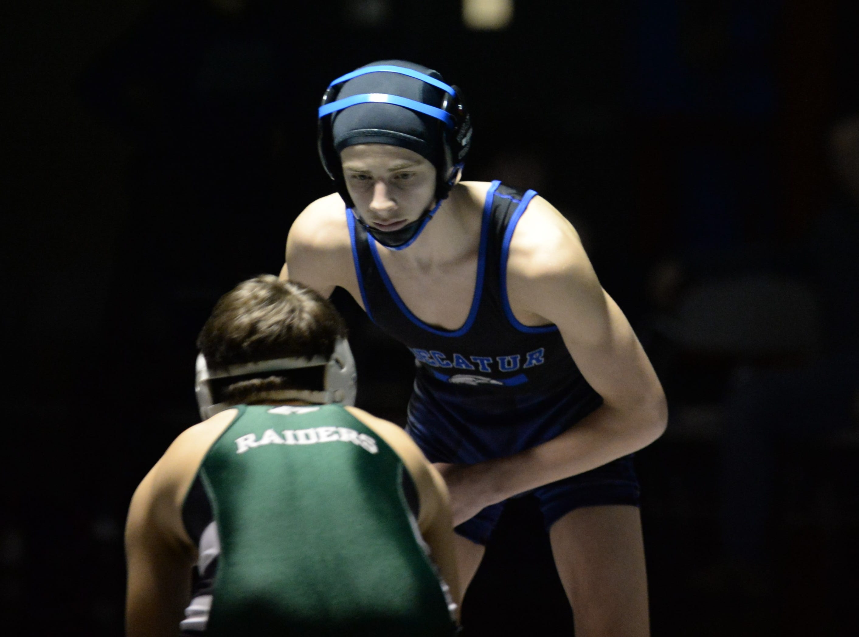 Stephen Decatur's Nico D'Amico stares down his opponent during the 3A East Regional Championship on Wednesday, Feb. 6, 2019.