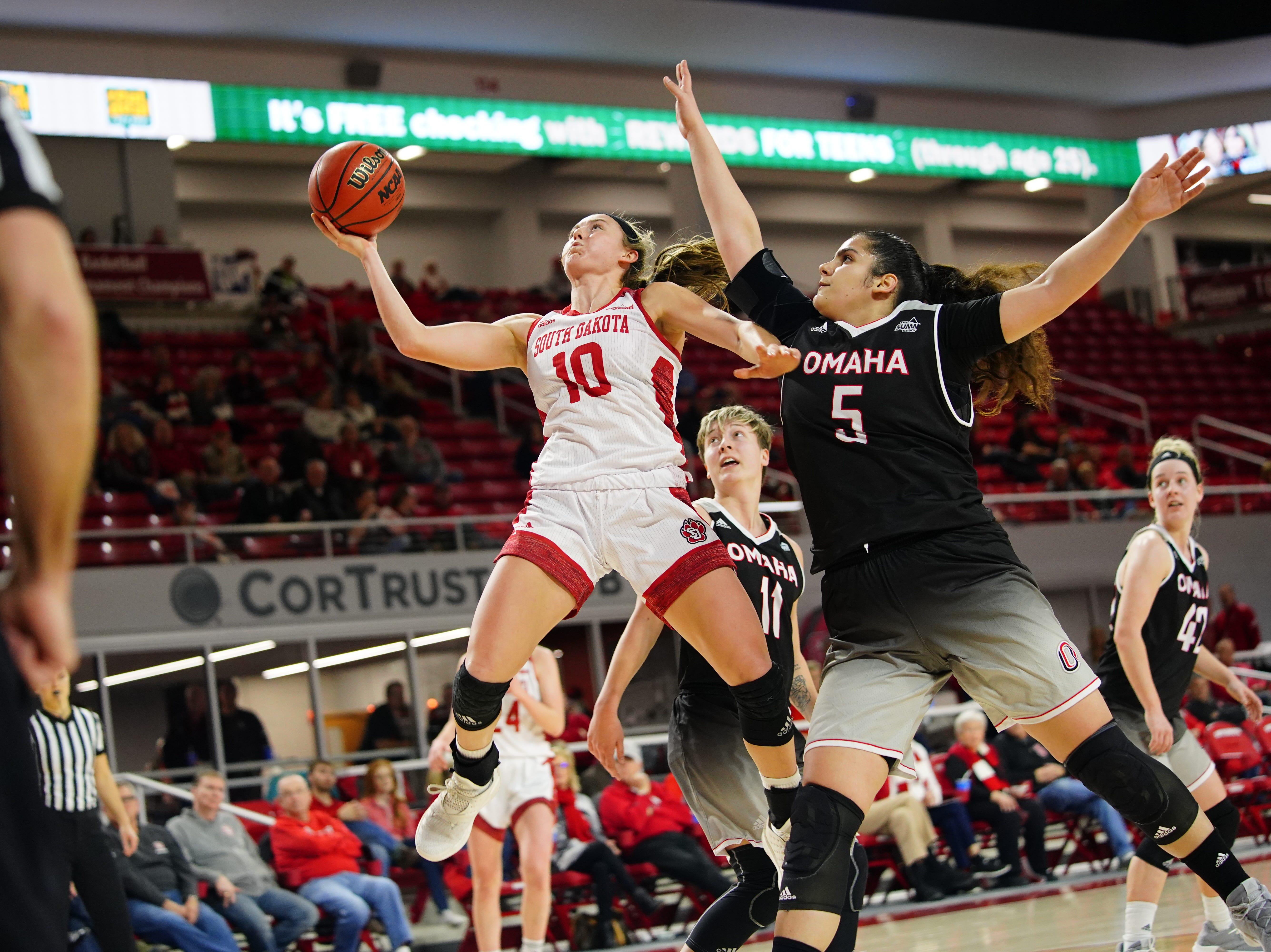 South Dakota guard Allison Arens drives to the basket against Omaha on Feb. 6, 2019.