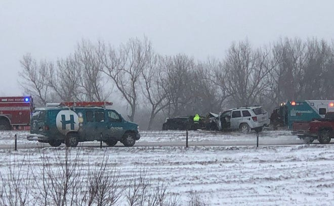 Two vehicles collided in the southbound lane of I-229 near Minnesota Avenue on Thursday.