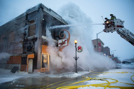 The Watertown Fire Rescue responded to a fire at the former Harbor Bar in downtown Watertown early Thursday morning. The firemen battled arctic temperatures while dousing the flames.