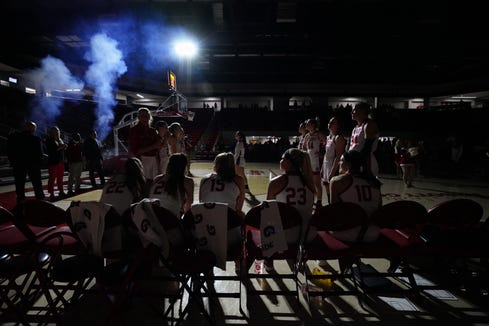 The South Dakota women's basketball team is introduced before their game against Omaha on Feb. 6, 2019.