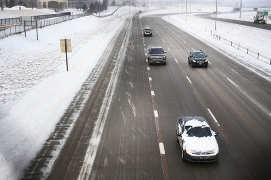 Cars travel on Interstate 29 Thursday, Feb. 7, in Sioux Falls. A blizzard waring was issued until midnight. The South Dakota Department of Transportation is advising drivers to not use roads north of Dell Rapids, including Interstate 29 to the North Dakota border.