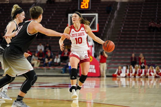 South Dakota guard Allison Arens looks to pass against Omaha on Feb. 6, 2019.