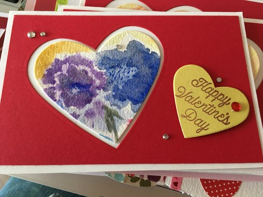 The Great Plains Watercolor Society made more than 600 Valentine's Day cards for the Dell Rapids and Sioux Falls Meals on Wheels program.