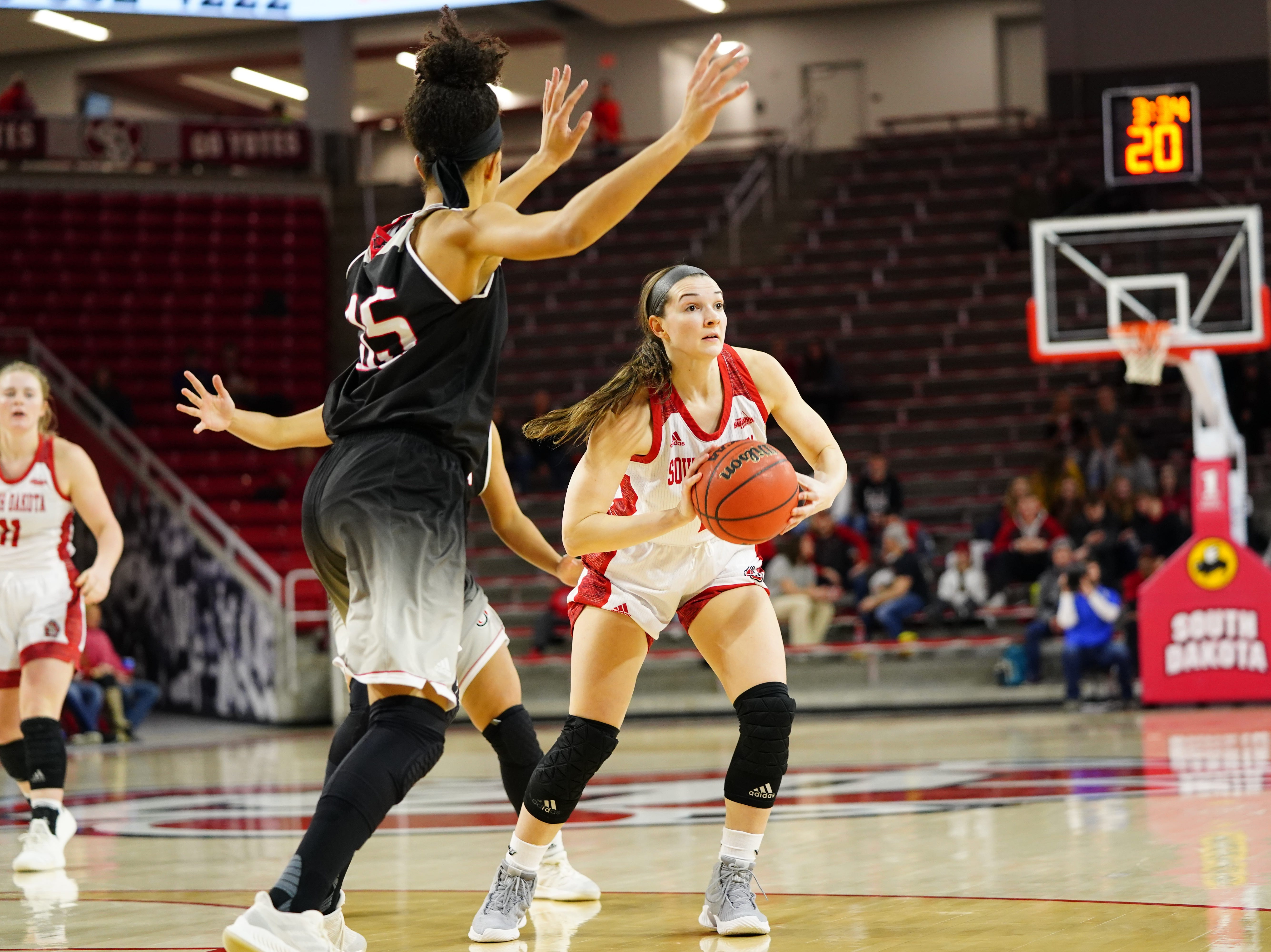USD guard looks to pass against Omaha on Feb. 6, 2019.