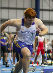 Austin Row competes for Dakota State at the Dakota Wesleyan Invite on Feb. 2, 2019.