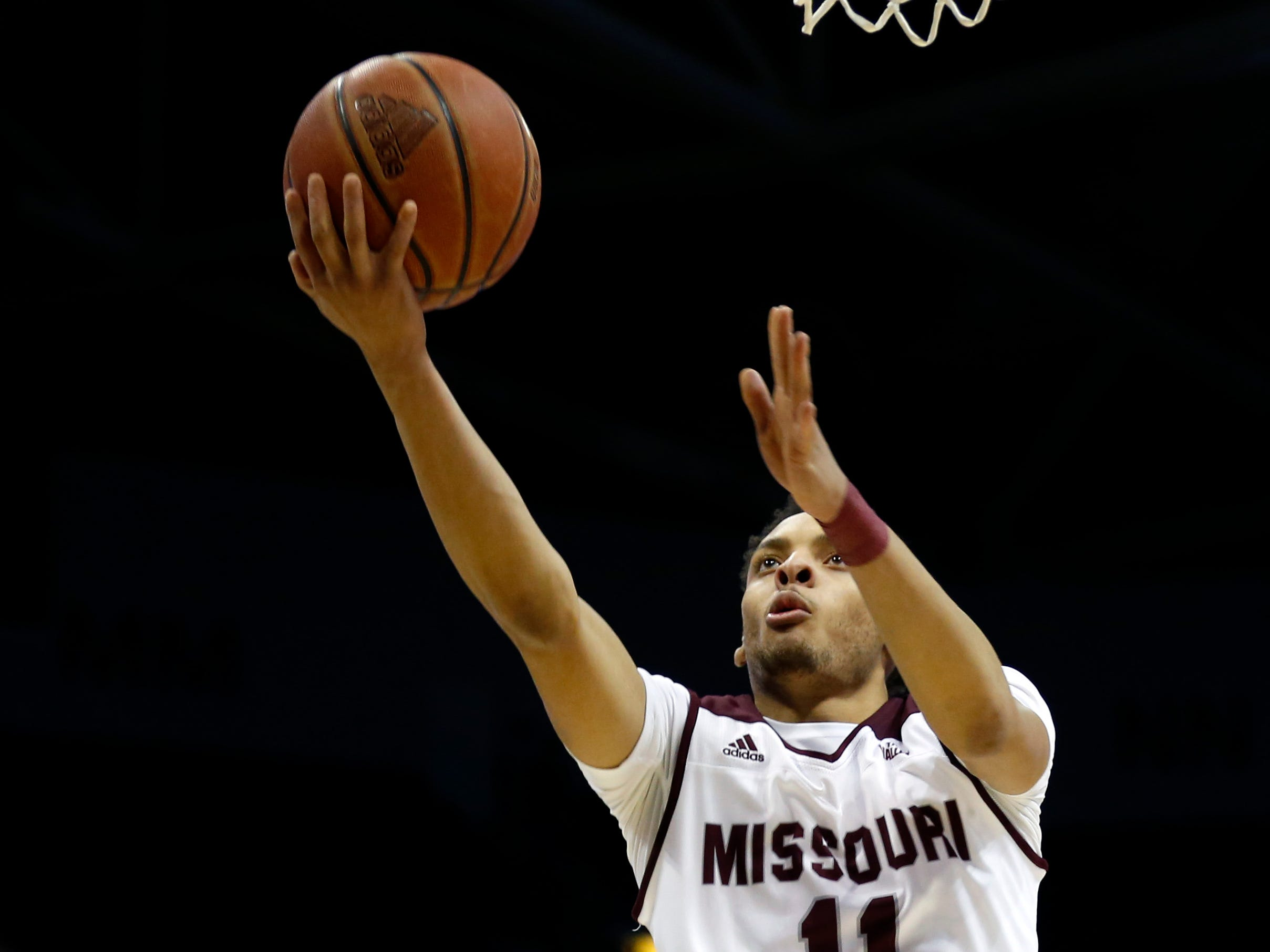 Missouri State's Jarred Dixon goes up for a field goal on the Southern Illinois Salukis at JQH Arena on Wednesday, Feb. 6, 2019.