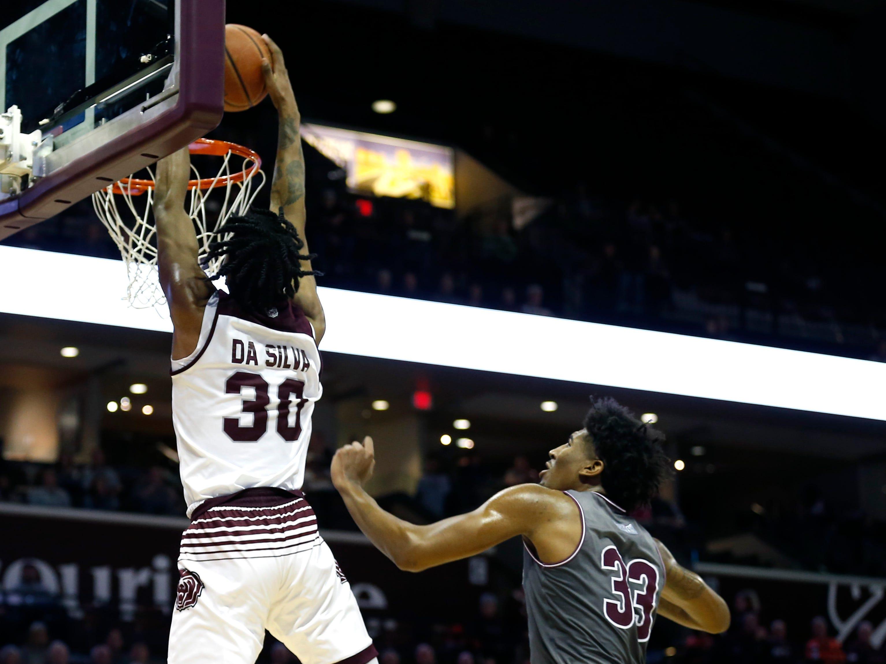 Missouri State's Tulio Da Silva dunks the ball on the Southern Illinois Salukis meet at JQH Arena on Wednesday, Feb. 6, 2019.