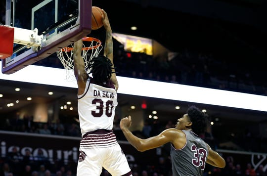 Missouri State's Tulio Da Silva dunks the ball on the Southern Illinois Salukis meet at JQH Arena on Wednesday, Feb. 6, 2019.