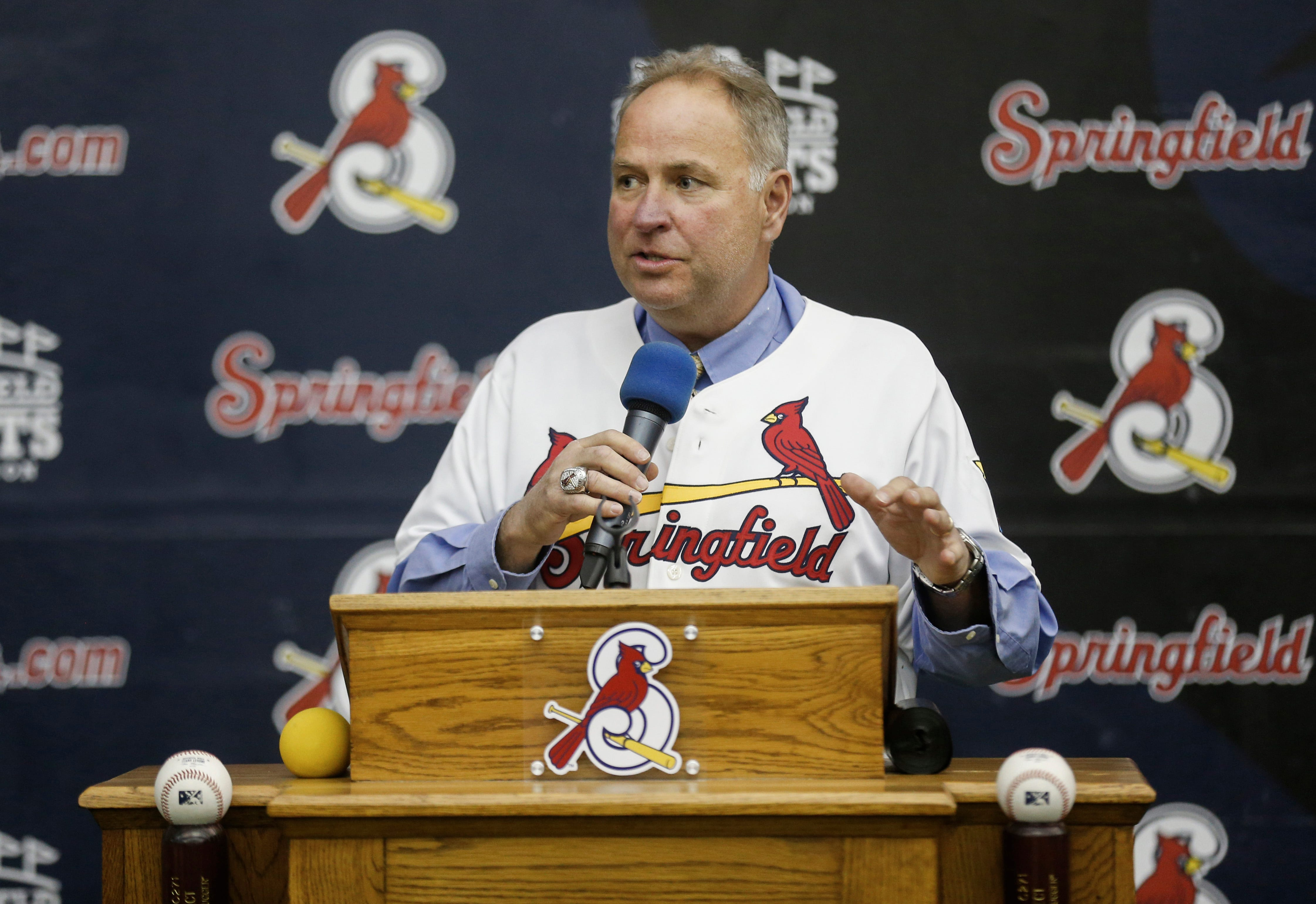 New Springfield Cardinals Manager Joe Kruzel speaks after being introduced on Thursday, Feb. 7, 2019.