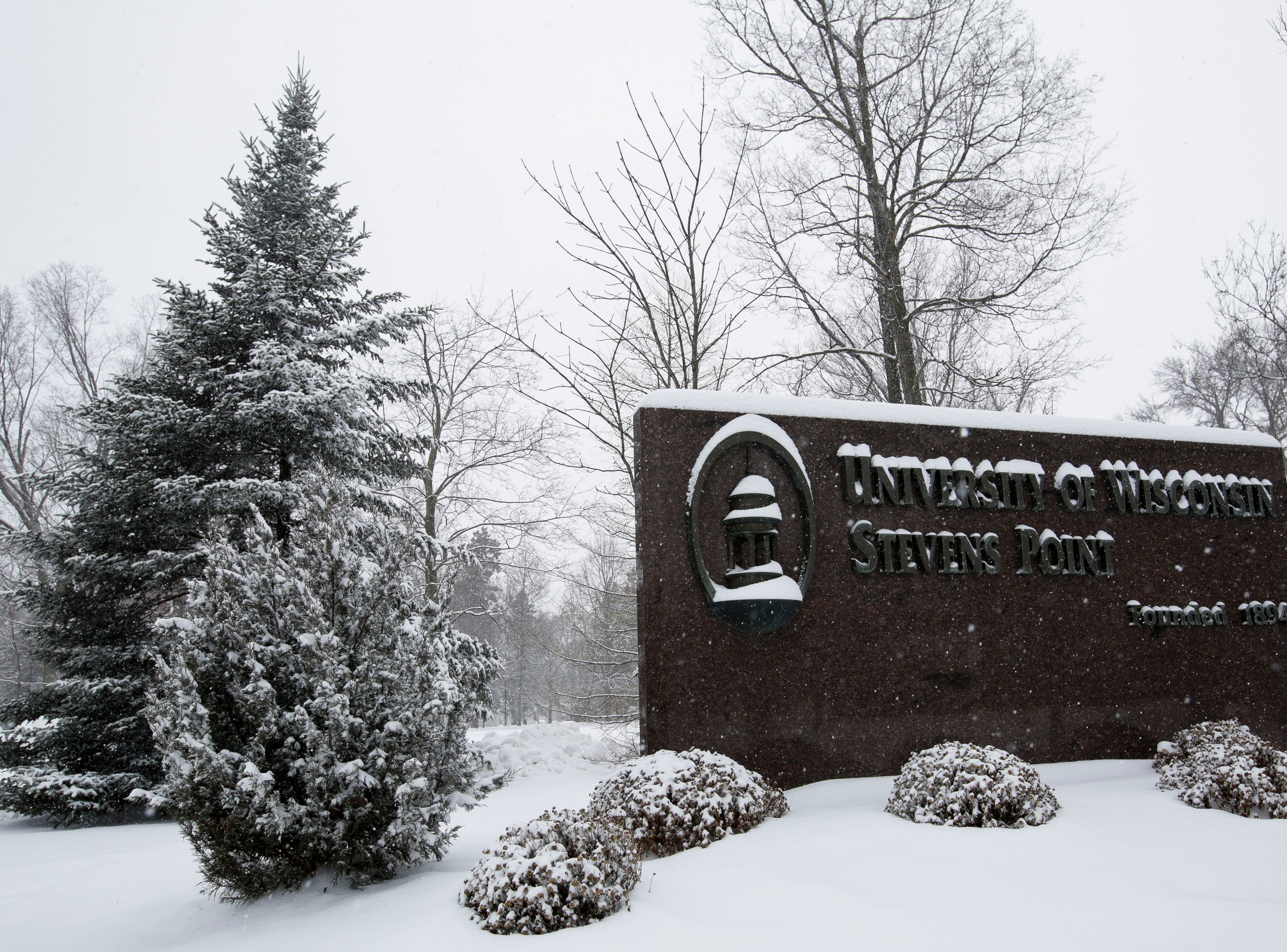 The UWSP campus, as seen on Thursday, February 7, 2019, in Stevens Point, Wis. A winter storm is expected to drop 5-8 inches of snow in the area by the time it clears Thursday evening.
