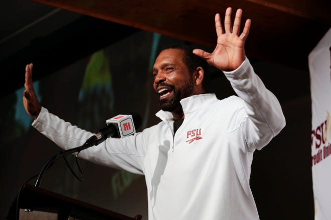 Florida State University Football Wide Receivers Coach David Kelly introduces his newly signed players during the FSU National Signing Day party at Tallahassee Automobile Museum Wednesday, Feb. 6, 2019.