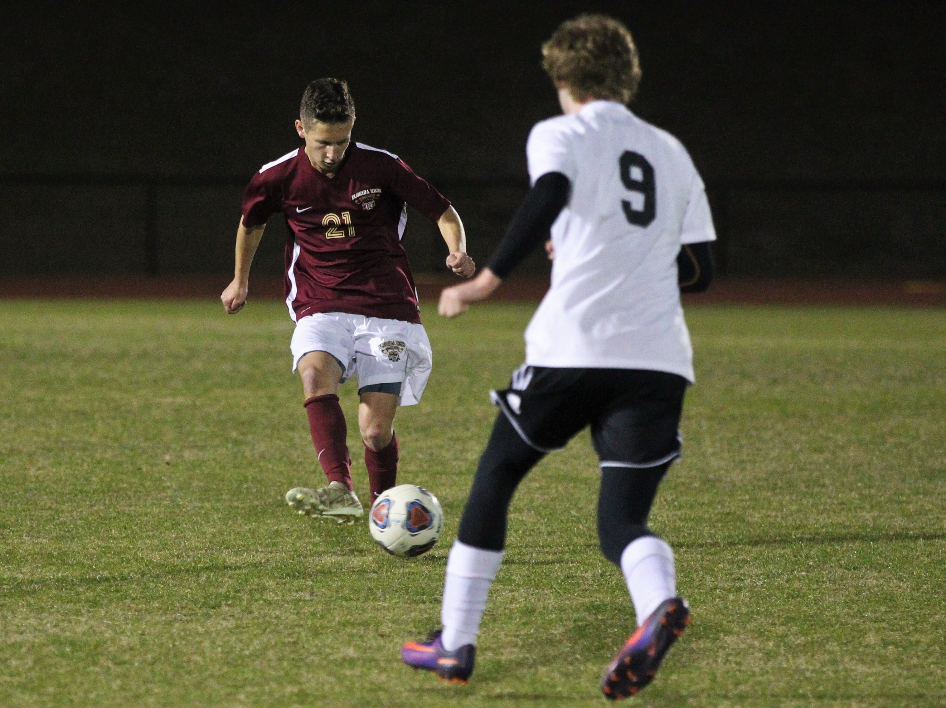 Florida High's Cole Dubois makes a pass upfield as Florida High's boys soccer team beat South Walton 2-0 during a Region 1-2A quarterfinal on Feb. 6, 2018.