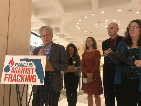 Howard Kessler of Tallahassee and member of Physicians for Social Responsibility reads a letter to Gov. DeSantis to oppose a House bill that redefines fracking