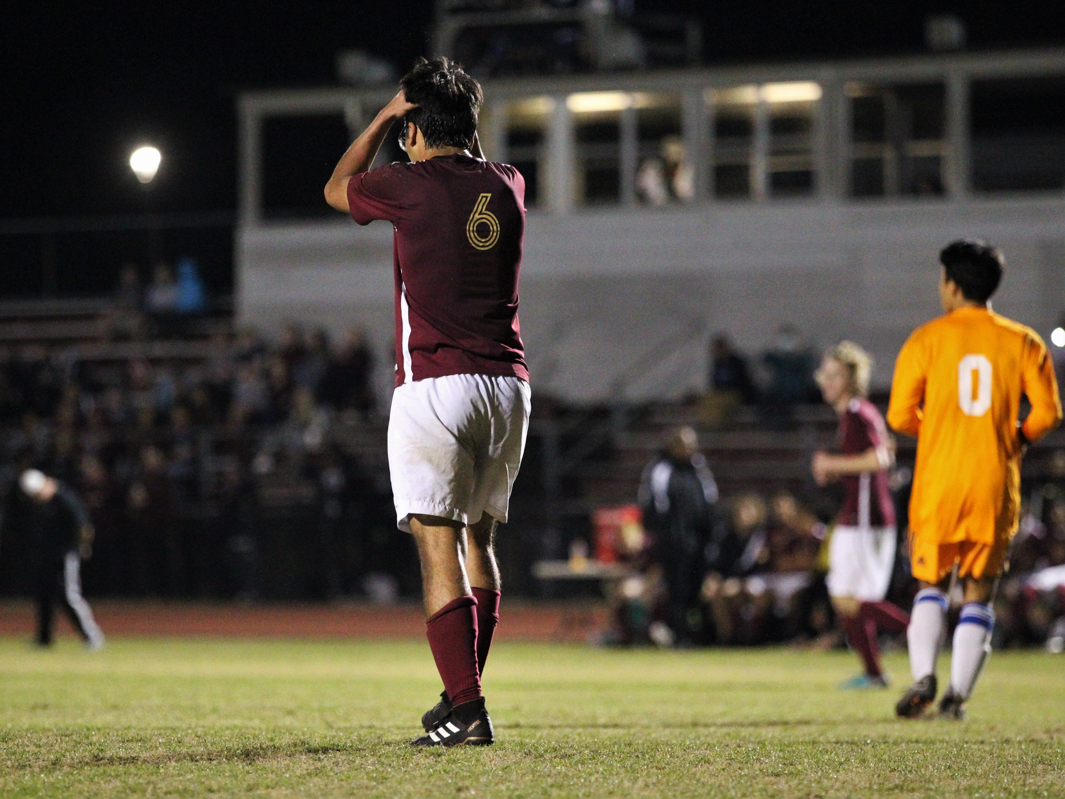 Florida High's Justin Garcia reacts to nearly scoring a goal as Florida High's boys soccer team beat South Walton 2-0 during a Region 1-2A quarterfinal on Feb. 6, 2018.