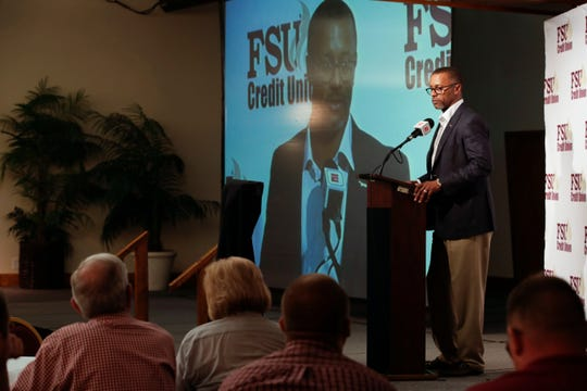 Florida State University Football Head Coach Willie Taggart gives his closing remarks during the FSU National Signing Day party at Tallahassee Automobile Museum Wednesday, Feb. 6, 2019.
