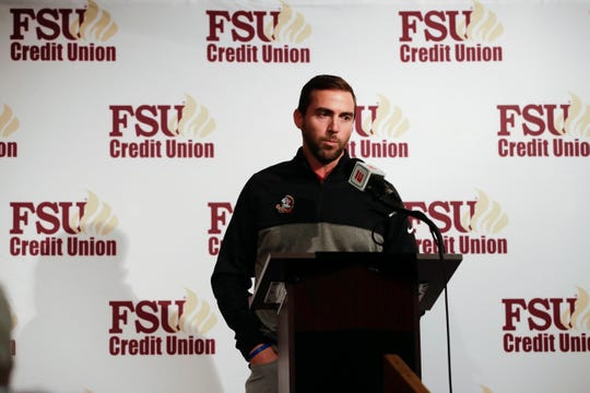 Florida State University Football Offensive Coordinator Kendal Briles introduces his recruits during the FSU National Signing Day party at Tallahassee Automobile Museum Wednesday, Feb. 6, 2019.