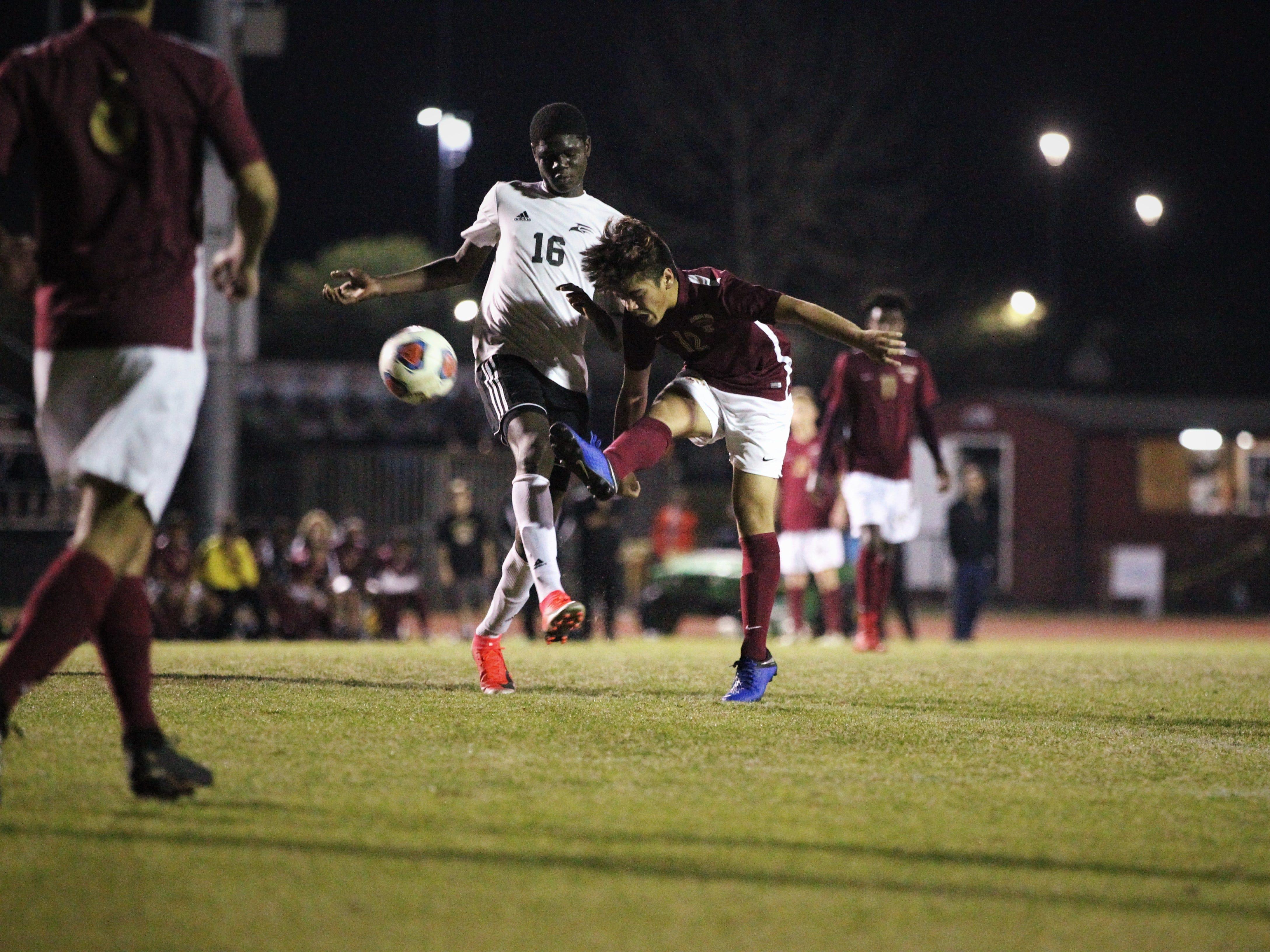 Florida High's Josh Limburg takes a shot as Florida High's boys soccer team beat South Walton 2-0 during a Region 1-2A quarterfinal on Feb. 6, 2018.