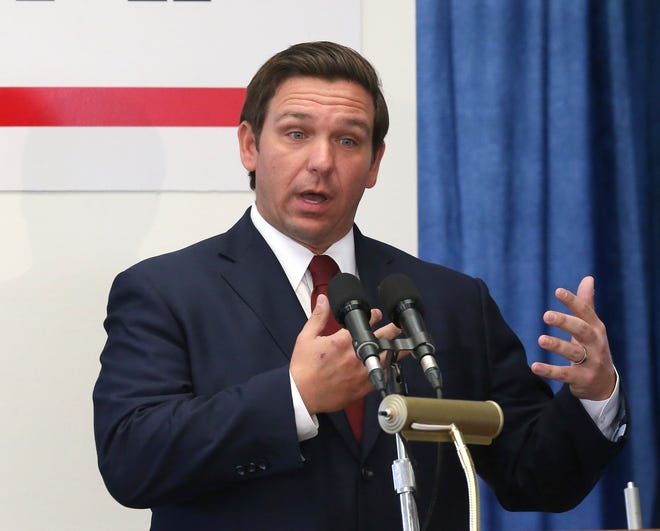 Gov. Ron DeSantis speaks at a pre-legislative news conference Jan. 30 in Tallahassee.