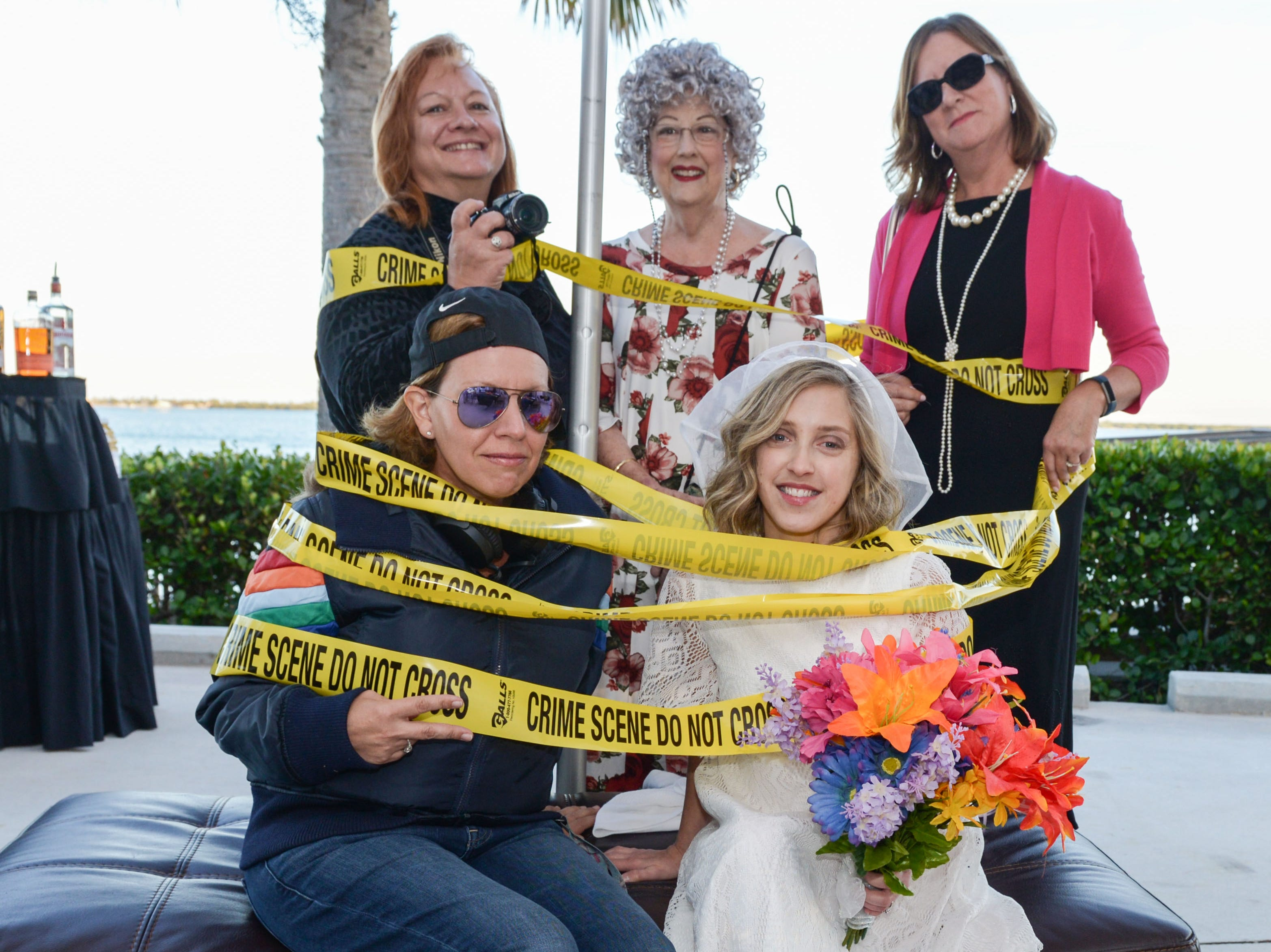"Jennifer Bozone, Lynda Smith, Kathleen Edwards, Lauren Annen and Lauren Harvey at the ""Deadly Ever After - A Slaying in the Sunrise City"" murder mystery."