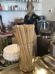 """HAY"" straws, made from wheat stalks, are the drinking straw of choice at Gilbert's Coffee Bar in Stuart."
