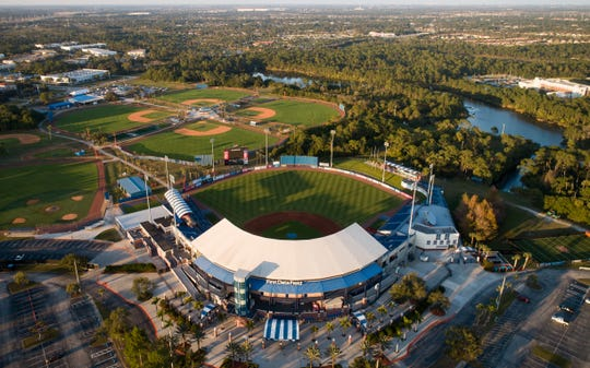 The First Data Field stadium and related fields are seen in a drone aerial photo Tuesday, Jan. 15, 2019, in Port St. Lucie.