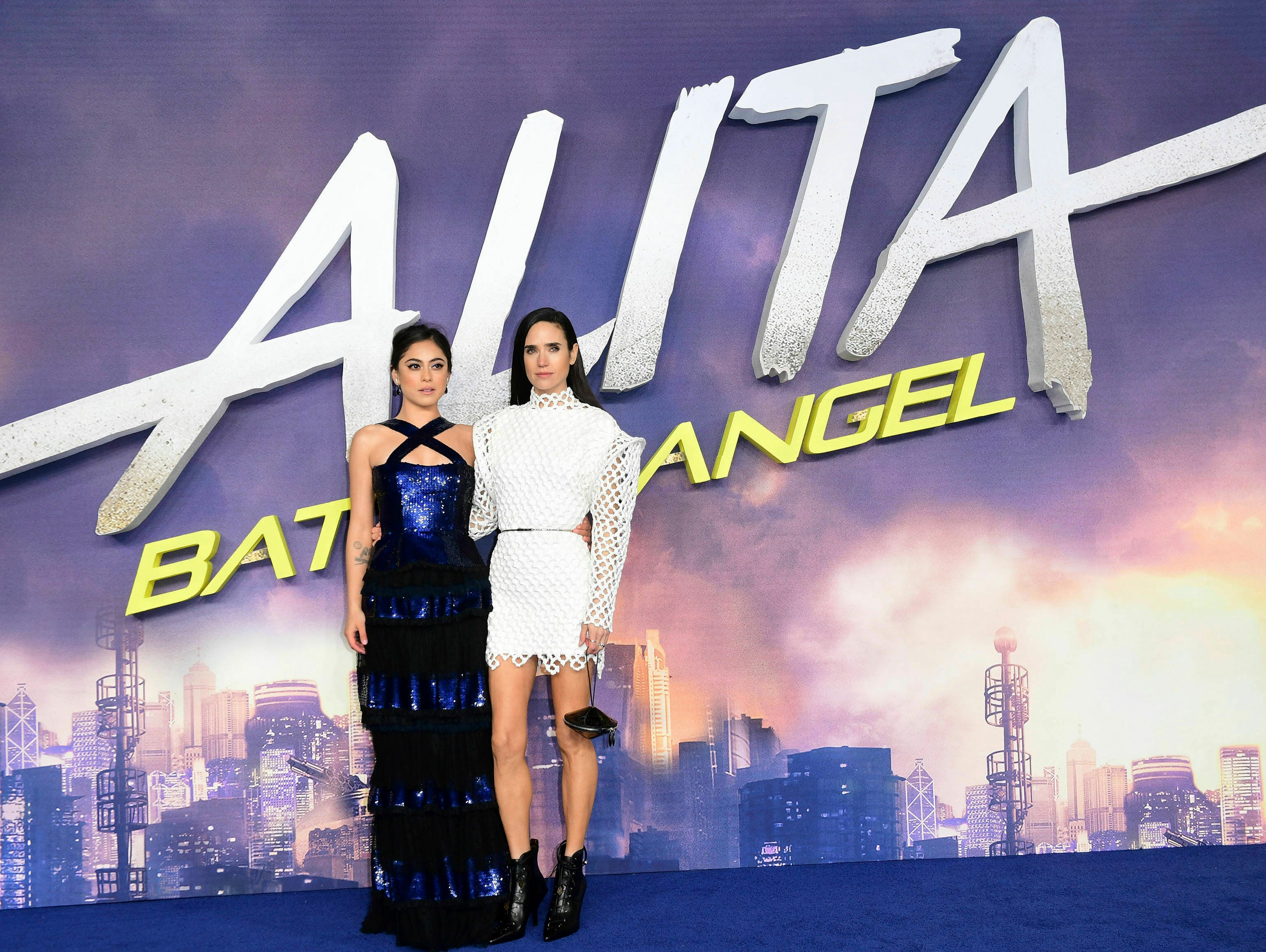 "Actresse Rosa Salazar, left, and Jennifer Connolly pose for the media at the world premiere of ""Alita: Battle Angel"" in central London, Thursday, Jan. 31, 2019."