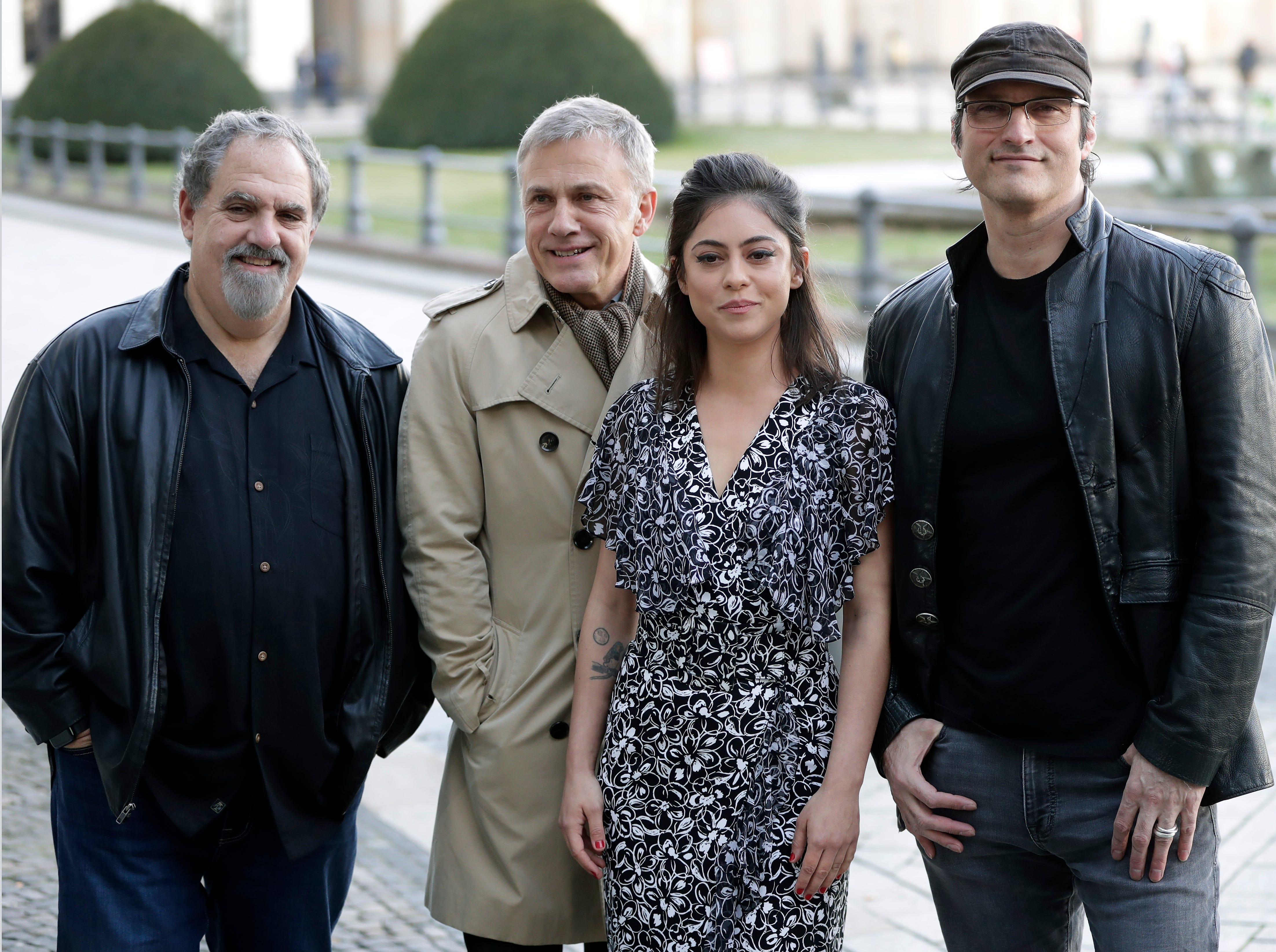 """From left, producer Jon Landau, actor Christoph Walz, actress Rosa Salazar and director Robert Rodriguez pose for photographers during a photo call for the movie """"Alita: Battle Angel"""" in Berlin, Germany, Wednesday, Jan. 30, 2019."""