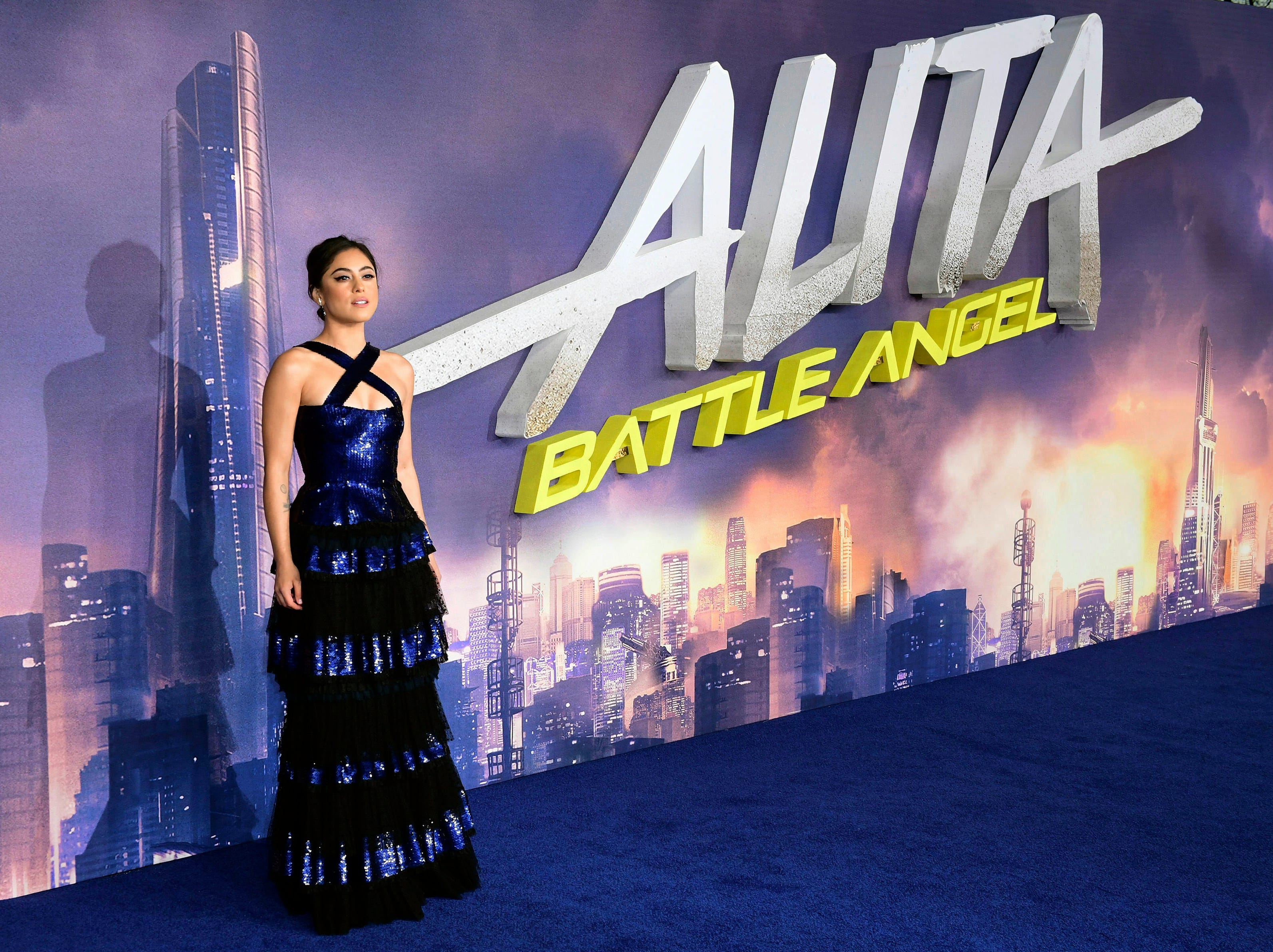"Actress Rosa Salazar poses for the media at the world premiere of ""Alita: Battle Angel"" in central London, Thursday, Jan. 31, 2019."