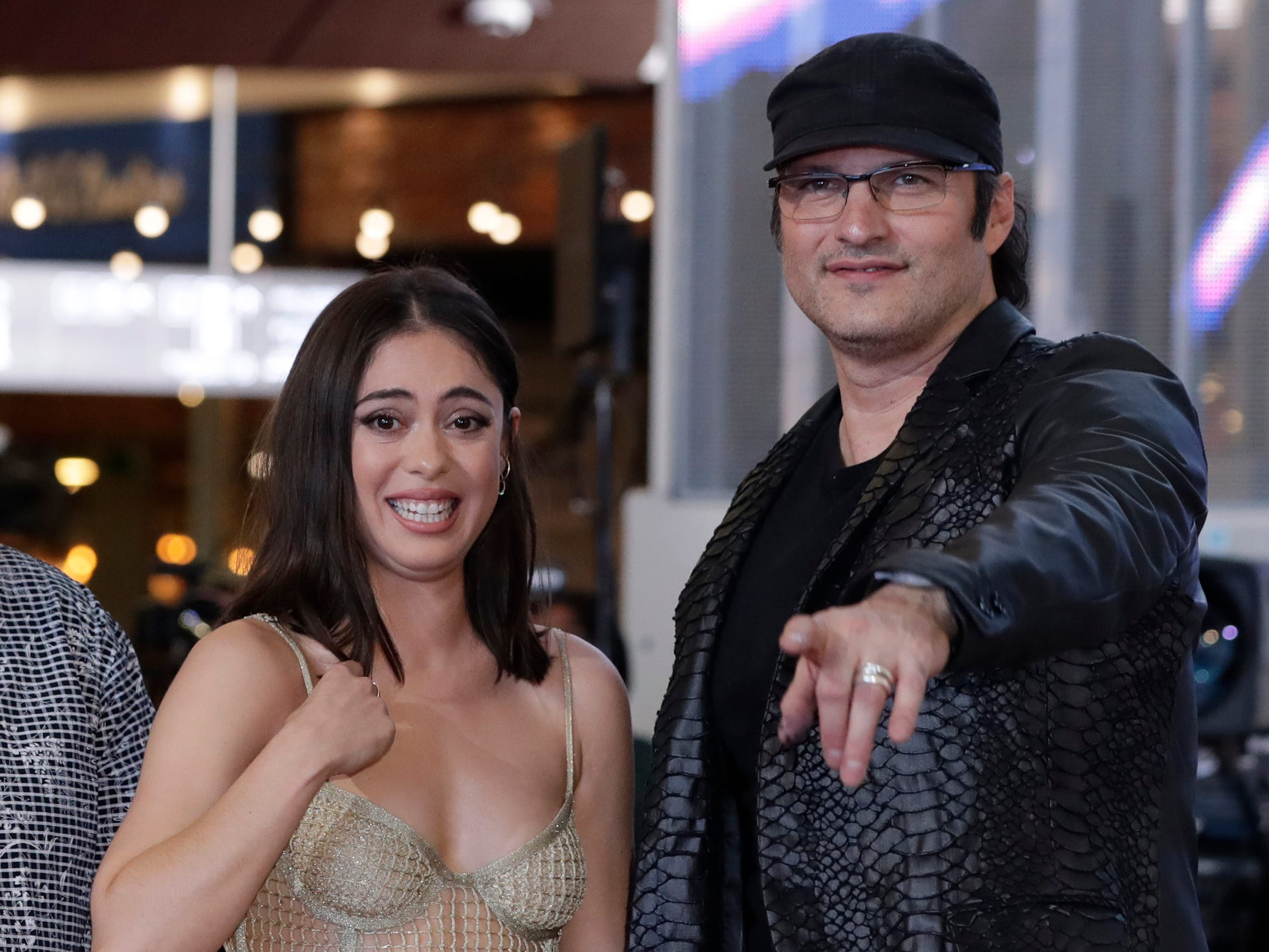 "Actress Rosa Salazar and director Robert Rodriguez, right, attend a red carpet event to promote their latest movie ""Alita: Battle Angel"" in Seoul, South Korea, Friday, Jan. 25, 2019."