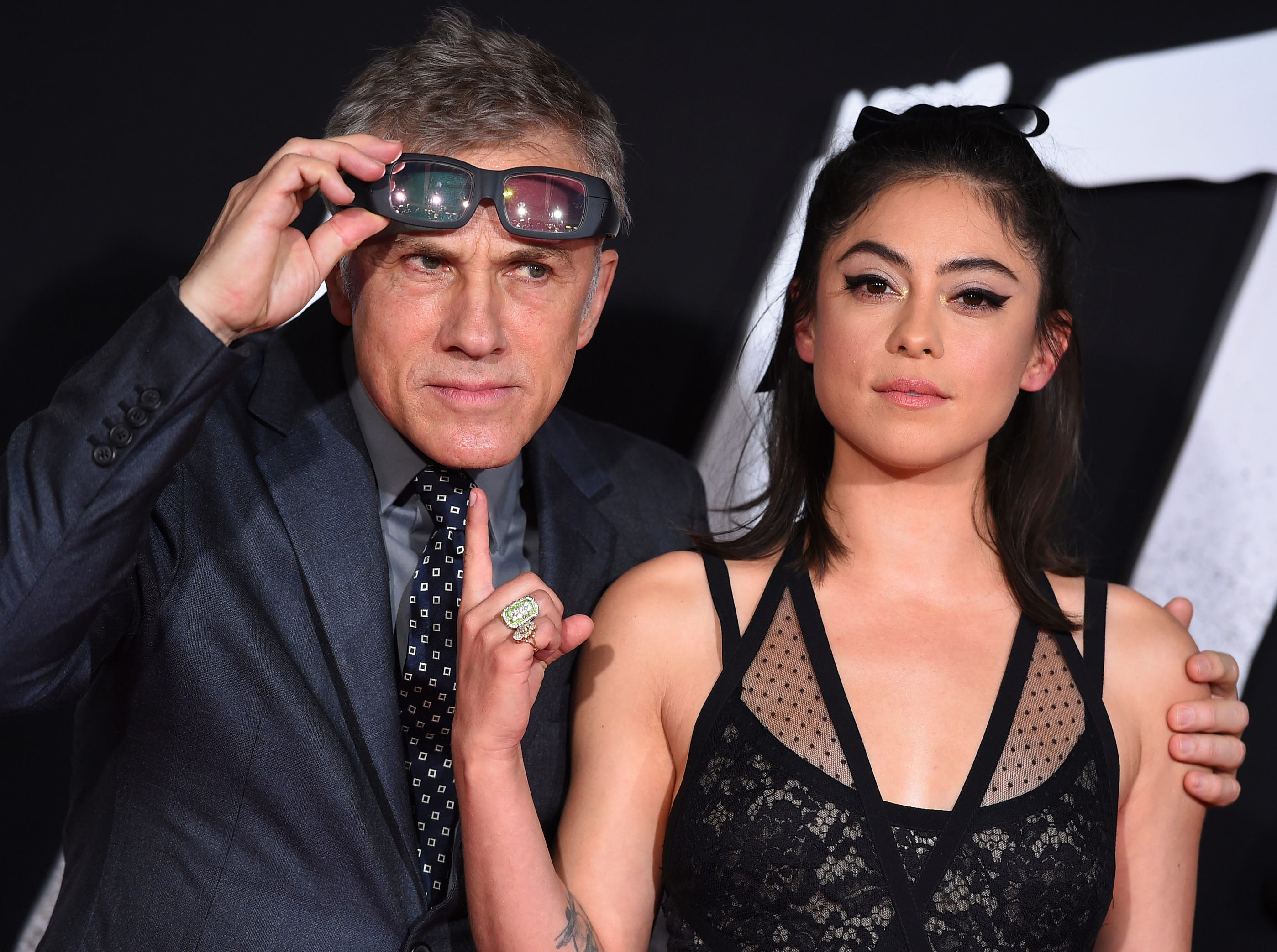 "Cast members Christoph Waltz and Rosa Salazar arrive at the Los Angeles premiere of ""Alita: Battle Angel"" on Tuesday, Feb. 5, 2019."