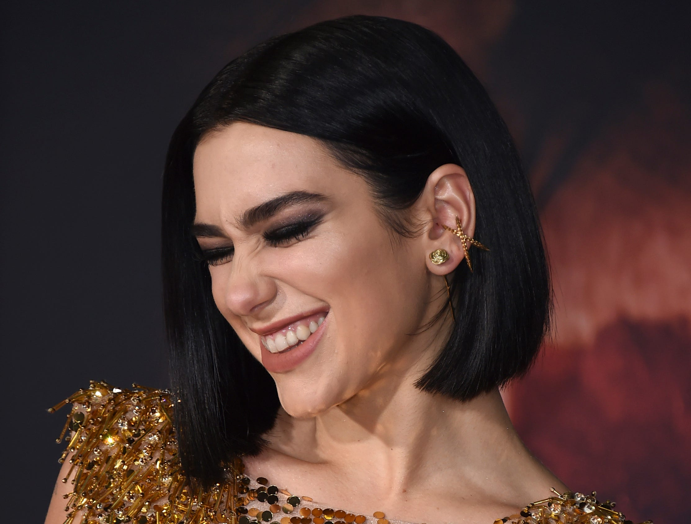 "Dua Lipa arrives at the Los Angeles premiere of ""Alita: Battle Angel"" on Tuesday, Feb. 5, 2019."