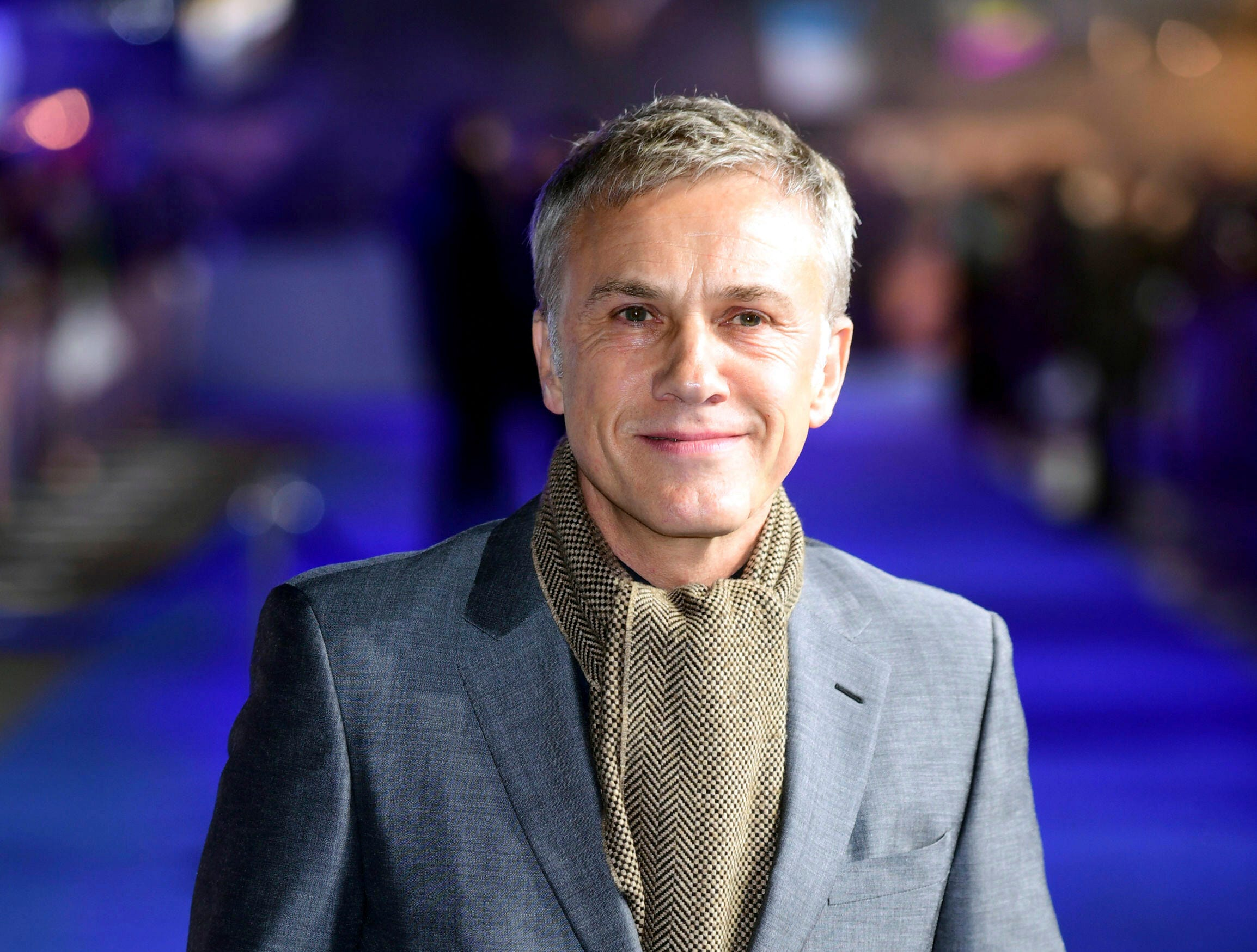 """Actor Christoph Waltz poses for the media at the world premiere of """"Alita: Battle Angel"""" in central London, Thursday, Jan. 31, 2019."""