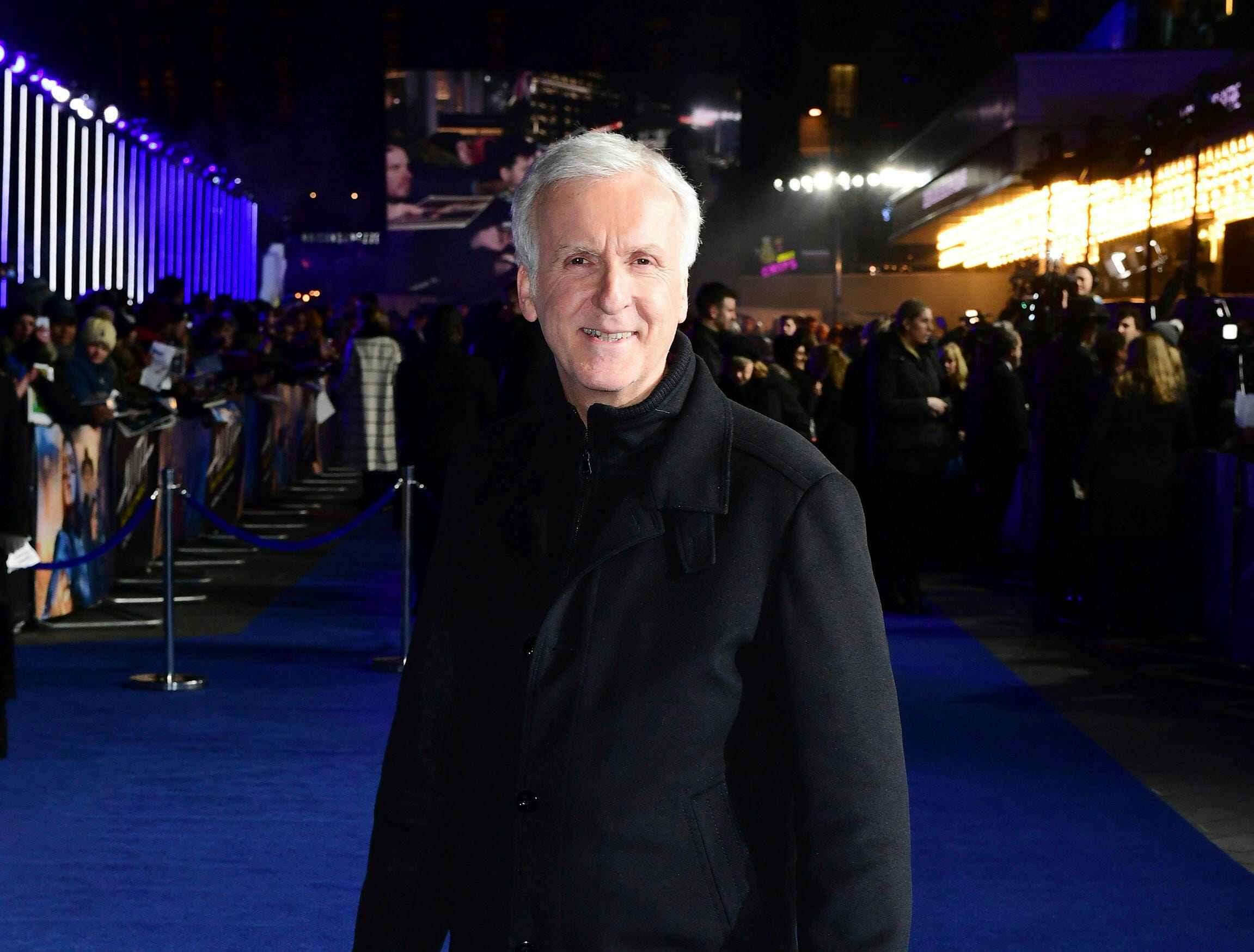 "Producer James Cameron poses for the media at the world premiere of ""Alita: Battle Angel"" in central London, Thursday, Jan. 31, 2019."