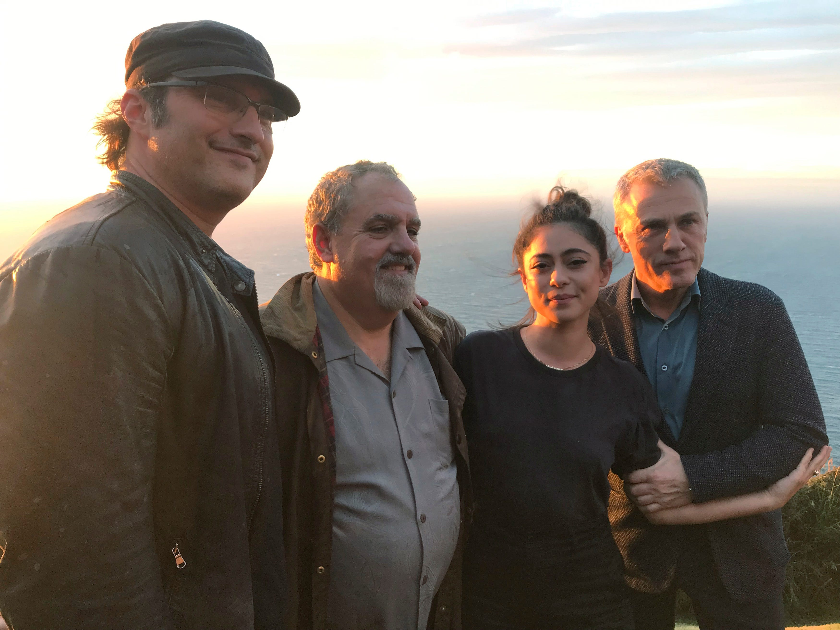 """In this photo taken on Jan. 9, 2019, from left, director Robert Rodriguez, producer Jon Landau, actors Rosa Salazar and Christoph Waltz pose for a photo near Wellington, New Zealand. The movie """"Alita: Battle Angel"""" has been 20 years in the making, and producer Jon Landau is confident it will finally signal a success for Hollywood in a genre that has proved problematic."""