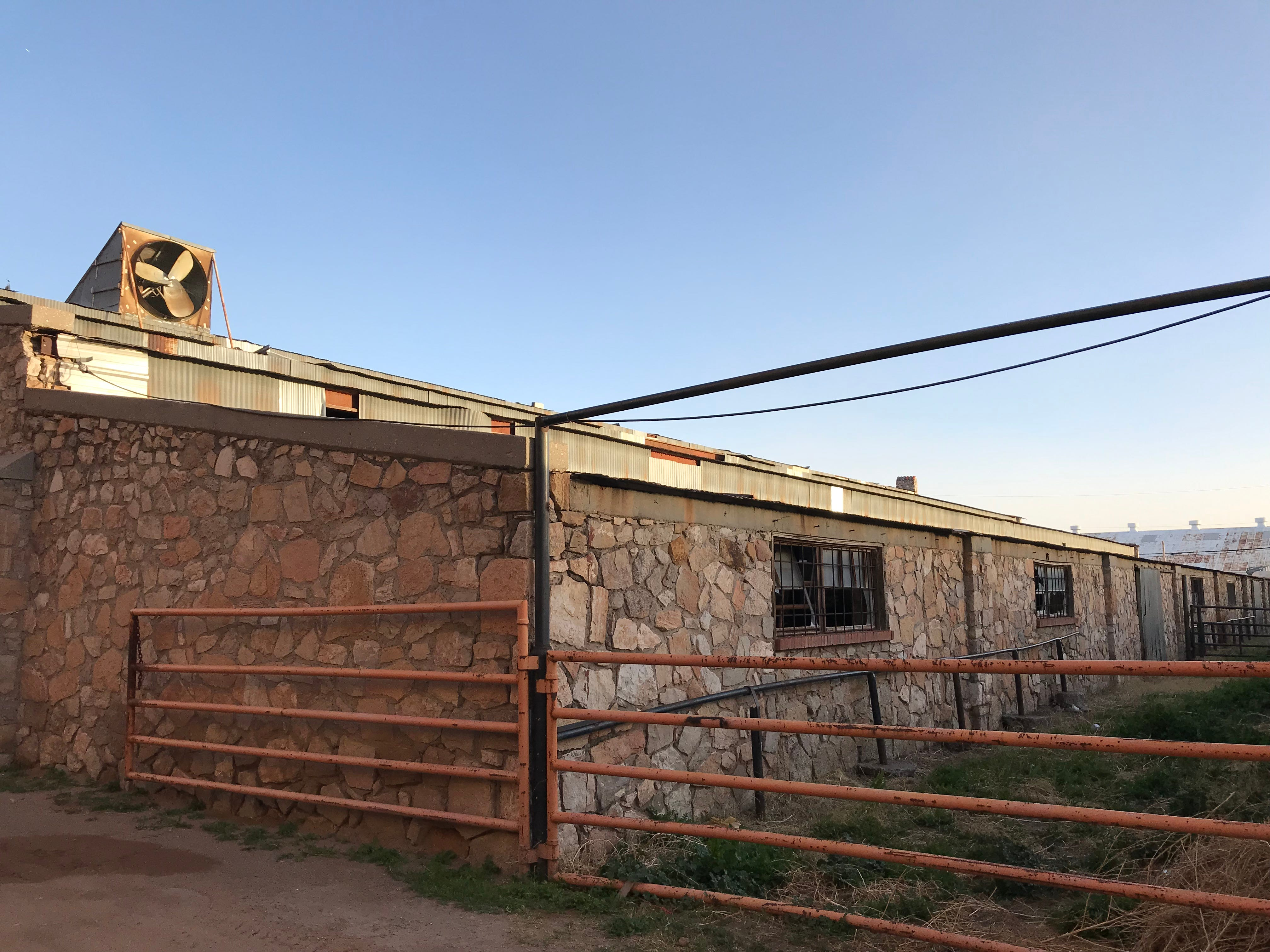 Broken windows are shown in a rock building connected next to the El Paso County Coliseum.