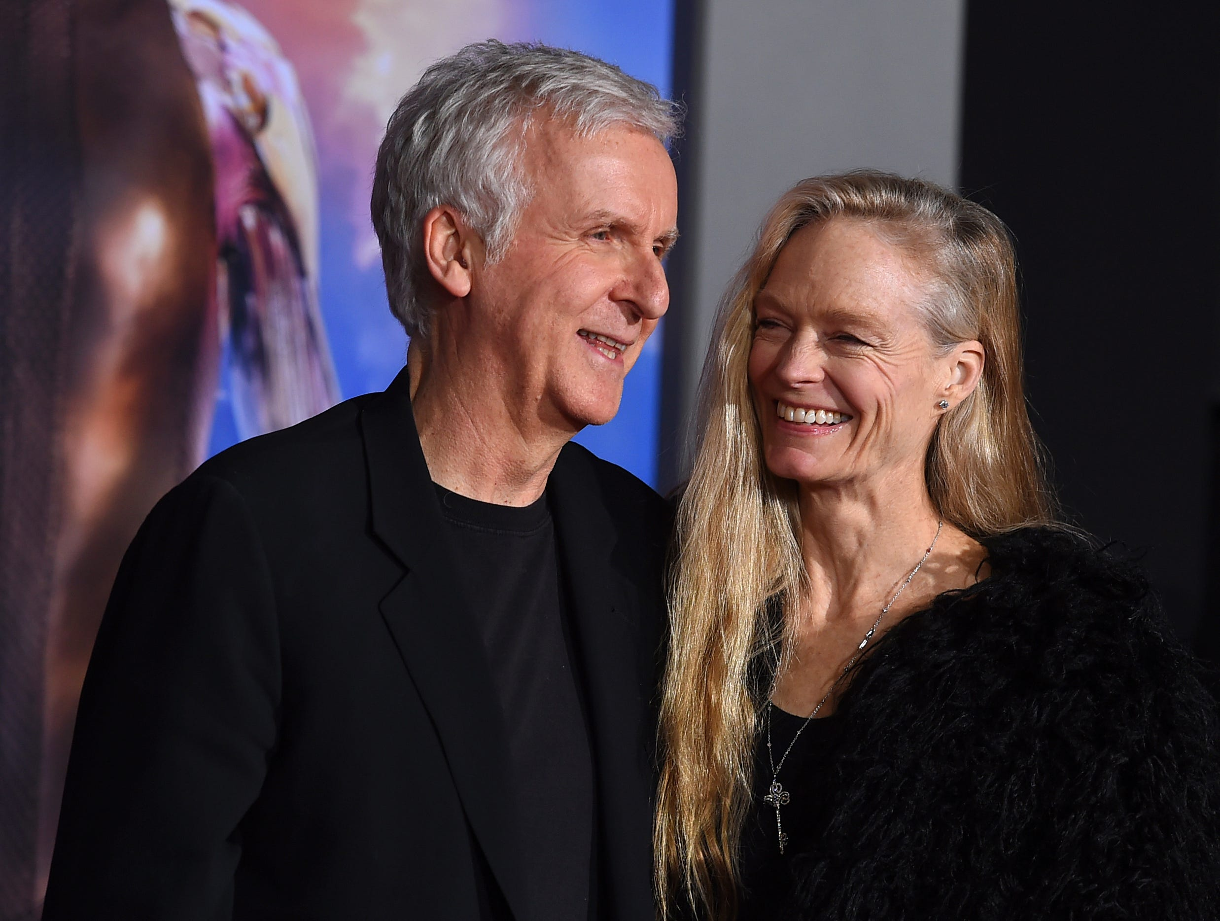 "Producer James Cameron and Suzy Amis arrive at the Los Angeles premiere of ""Alita: Battle Angel"" on Tuesday, Feb. 5, 2019."